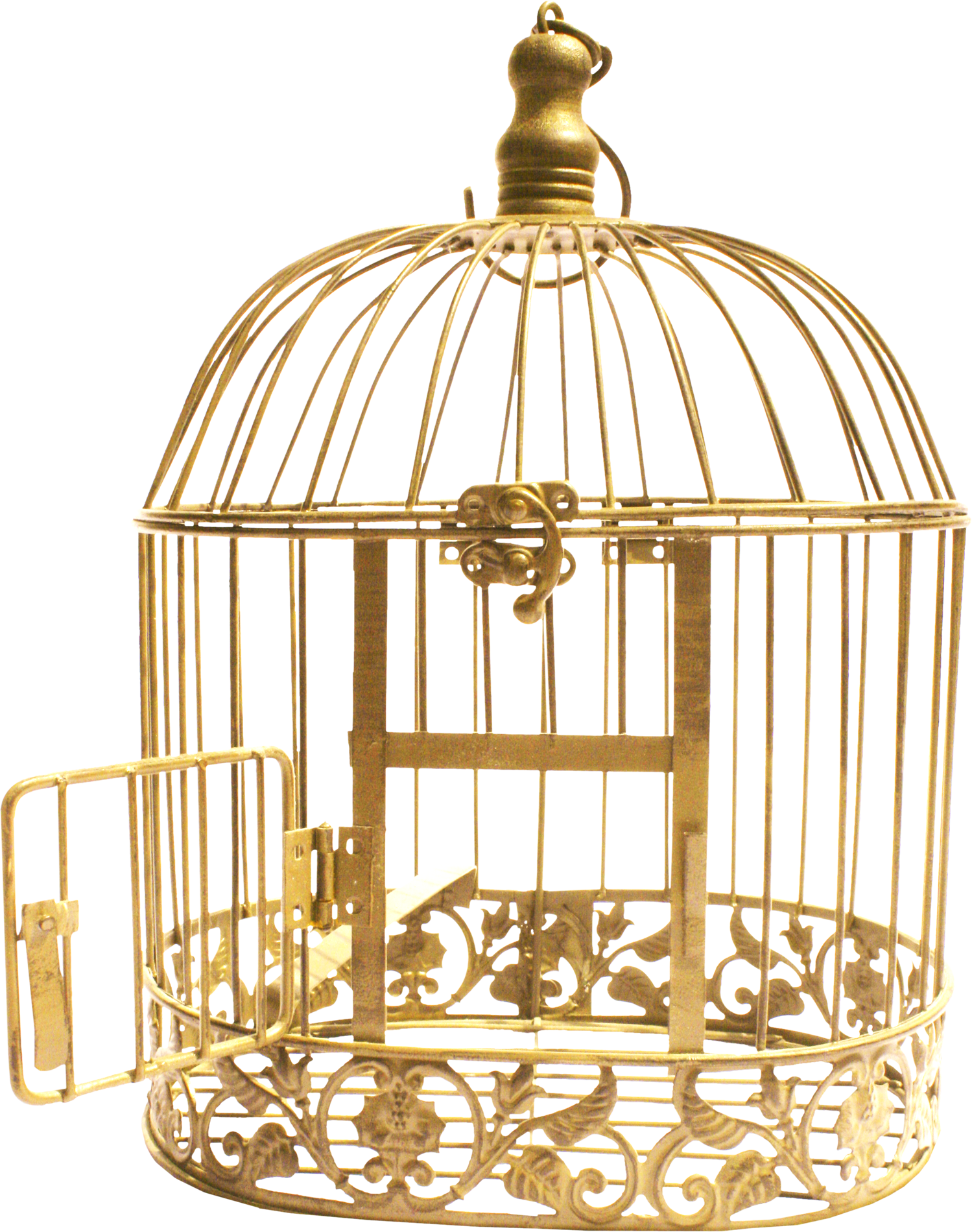 Golden Bird Cage PNG Image