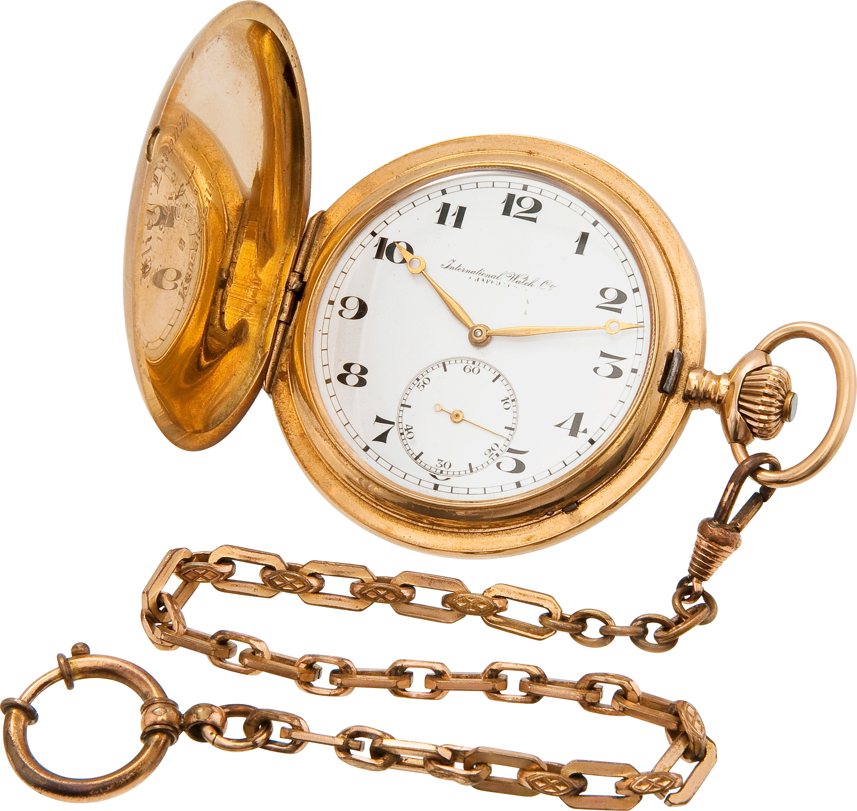 Golden Chain Stop Watch PNG Image