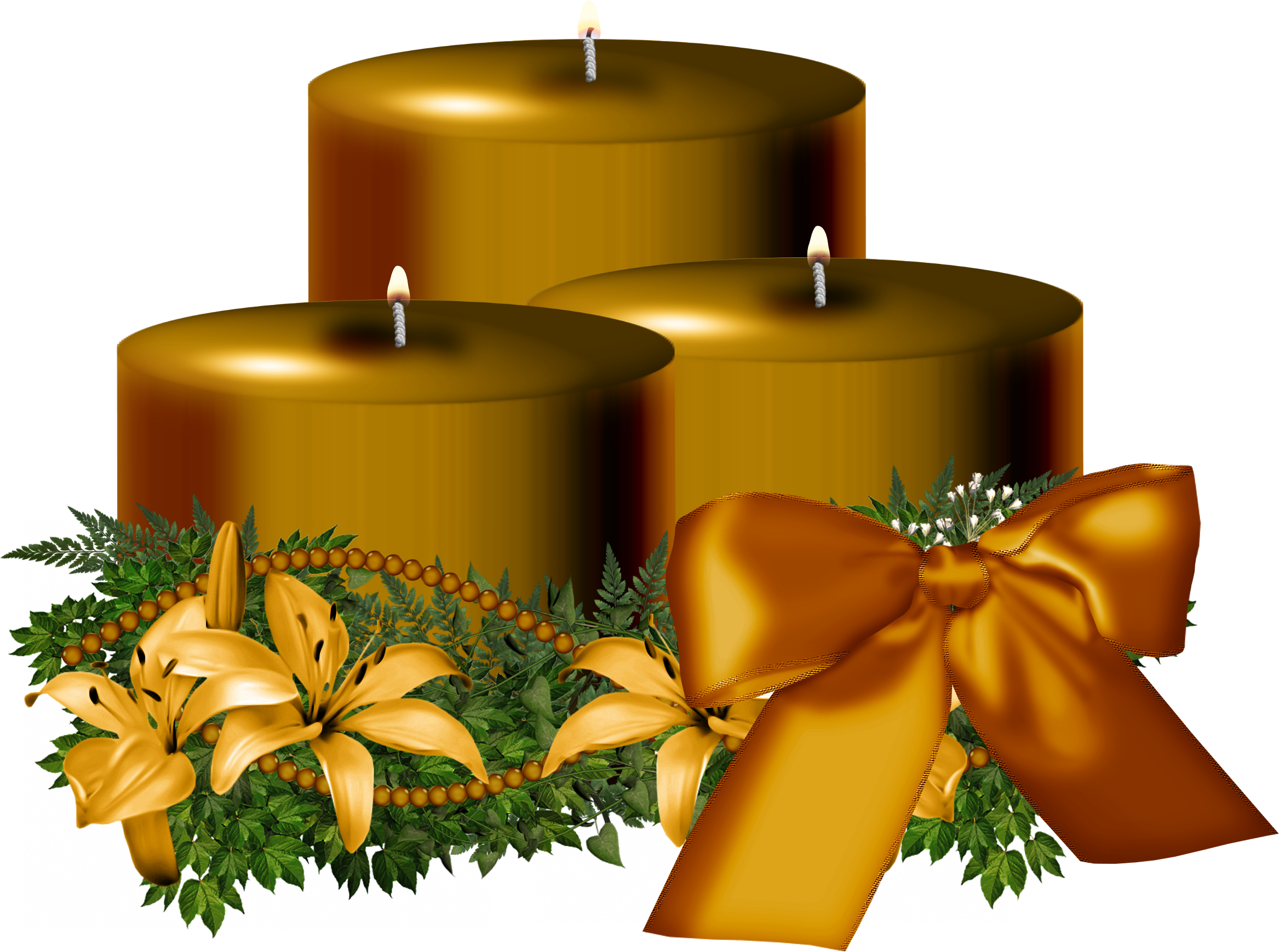 Tree Golden Christmas Candle Decorated PNG Image