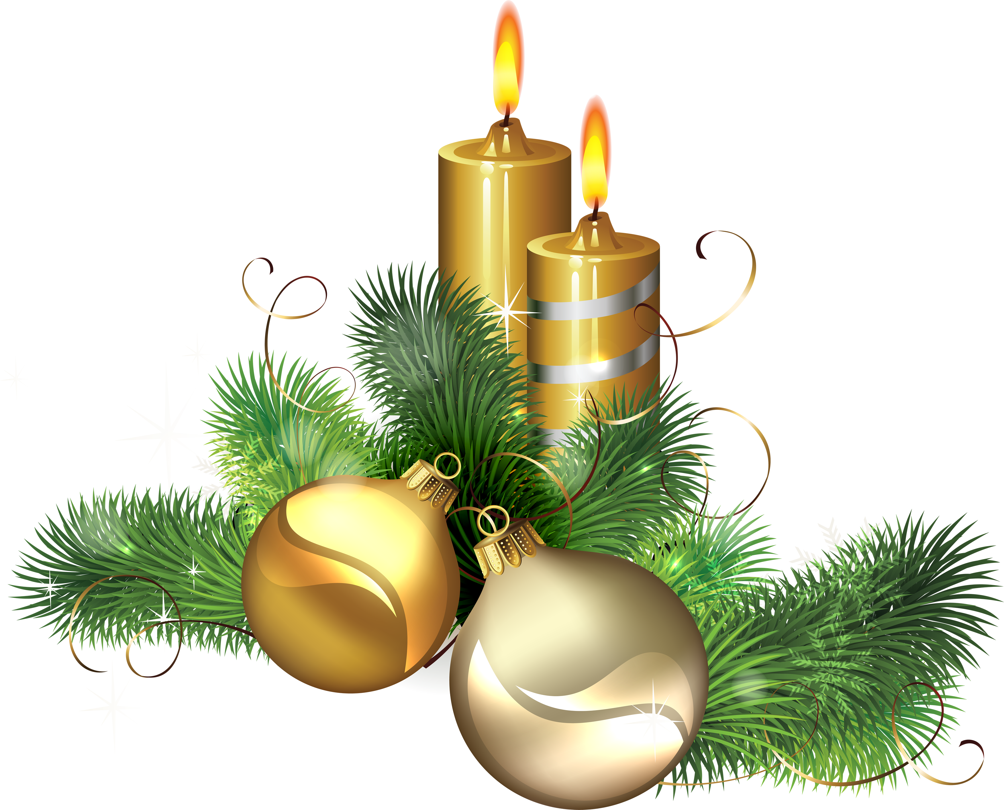 Golden Christmas Candle with Mistletoe PNG Image