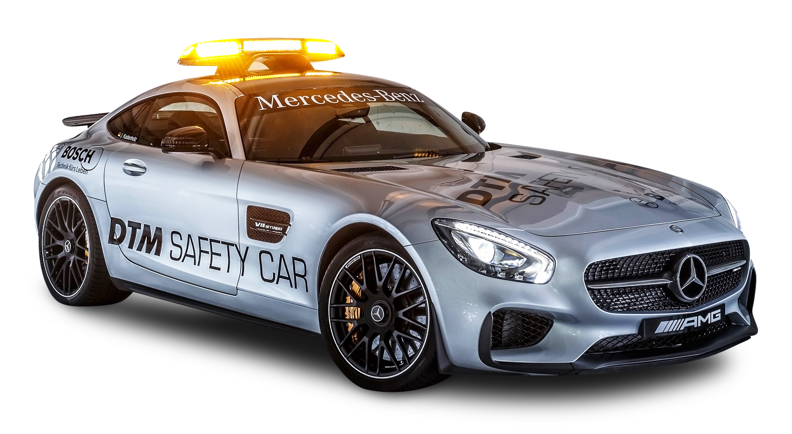 Gray Mercedes AMG GTS Safety Car