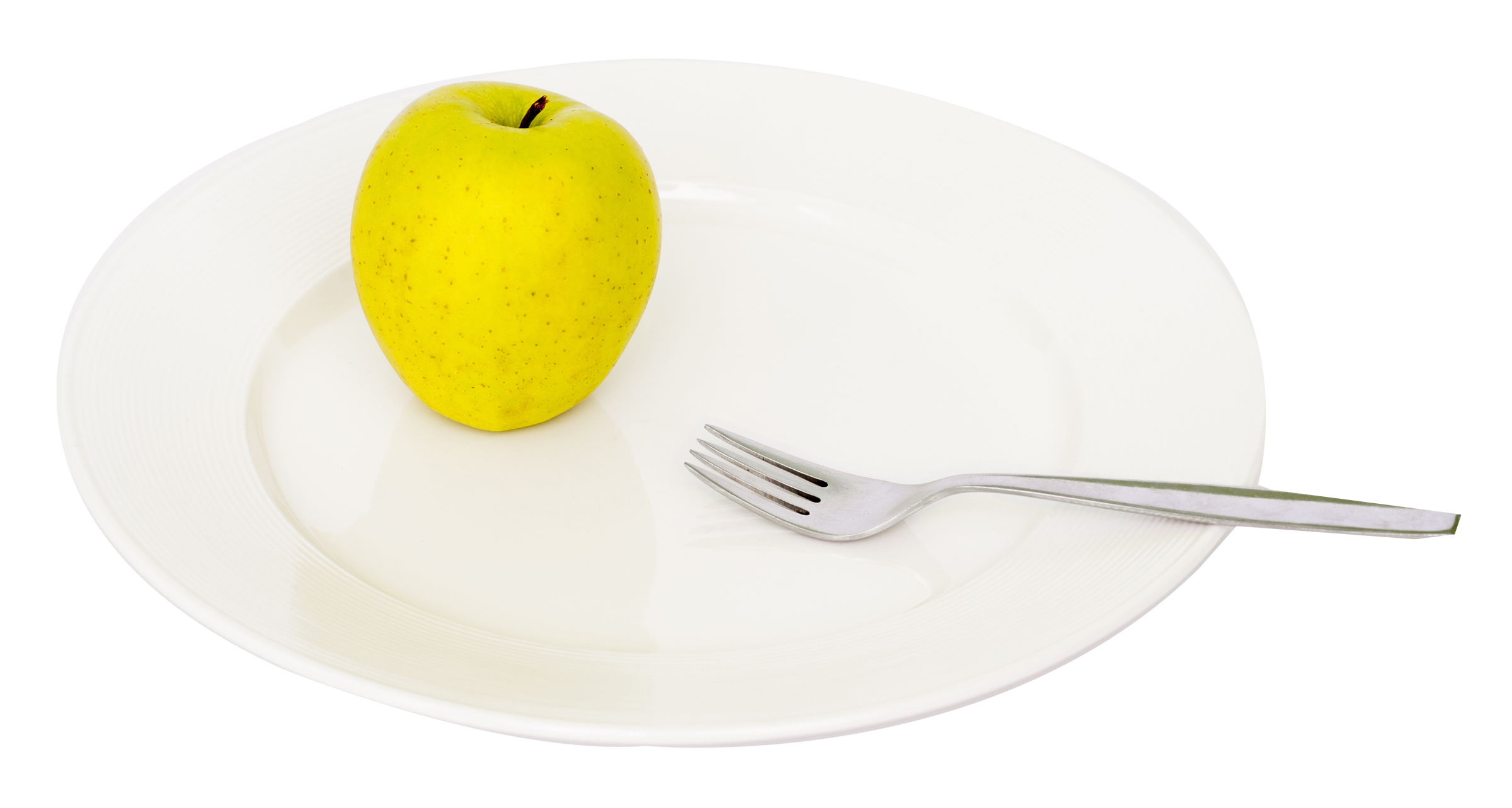 Green Apple in Plate PNG Image