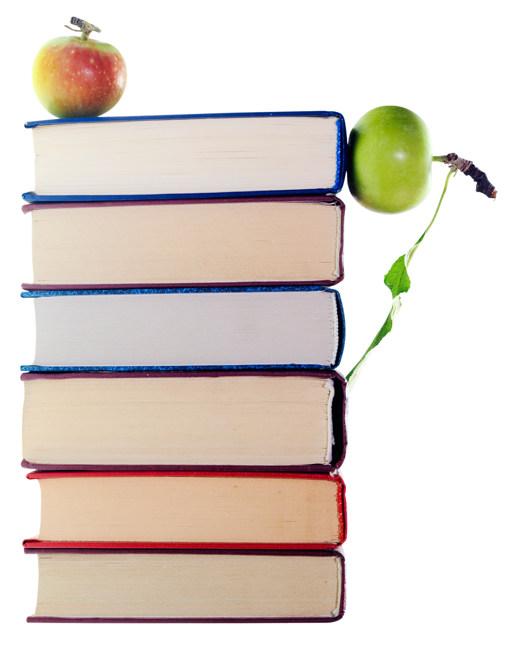 Green  Apples in Stack of Books PNG Image