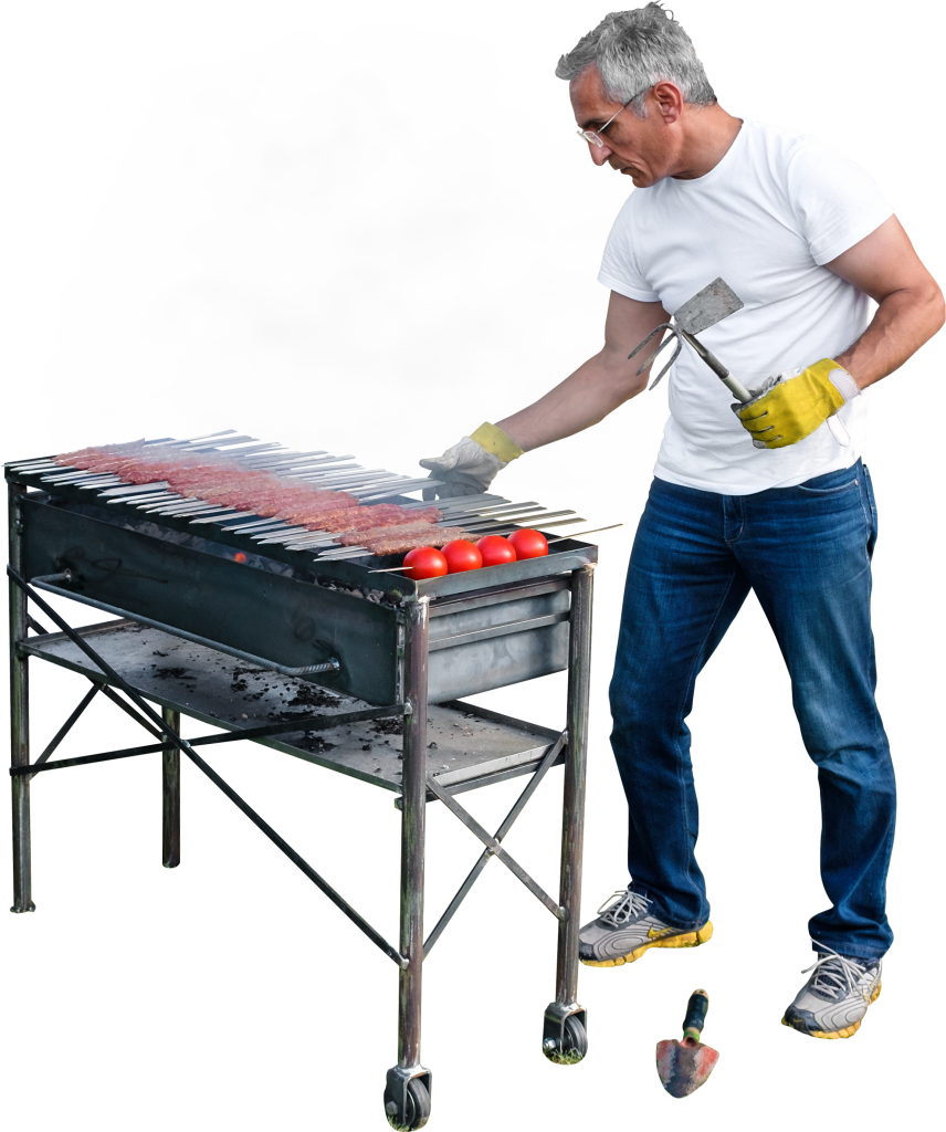 Grilling Kebab And Tomatoes PNG Image