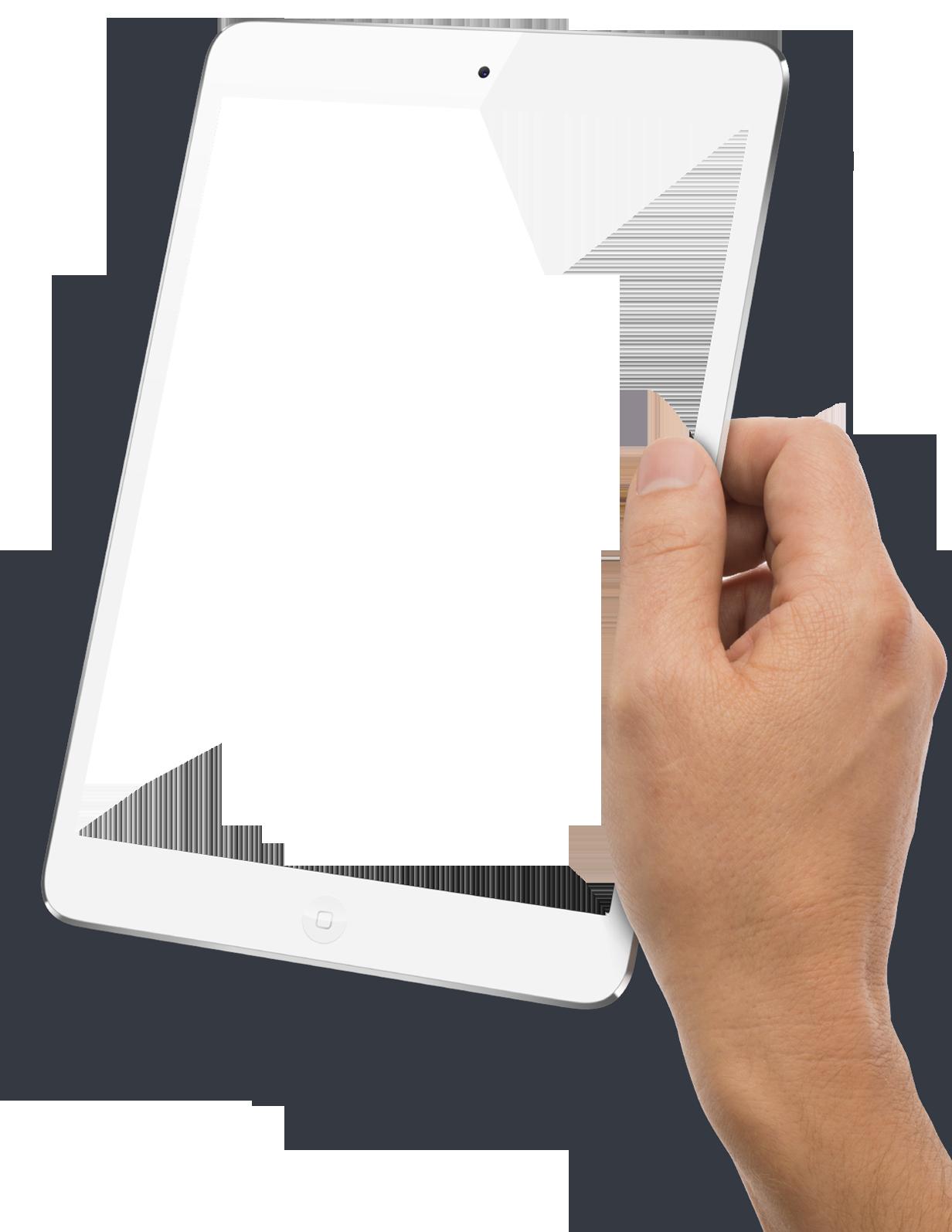 Hand Holding White Tablet