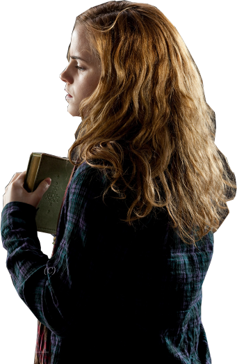 Hermione Worried with Book from Behind PNG Image