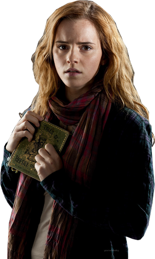 Hermione Worried with Book PNG Image