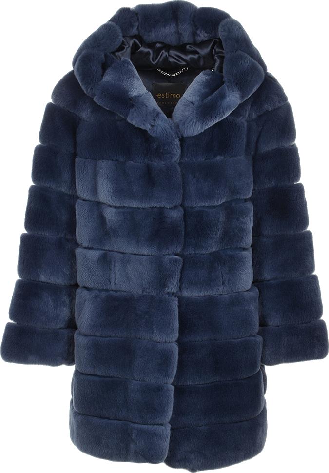 Hooded Rex Rabbit Fur Coat Blue