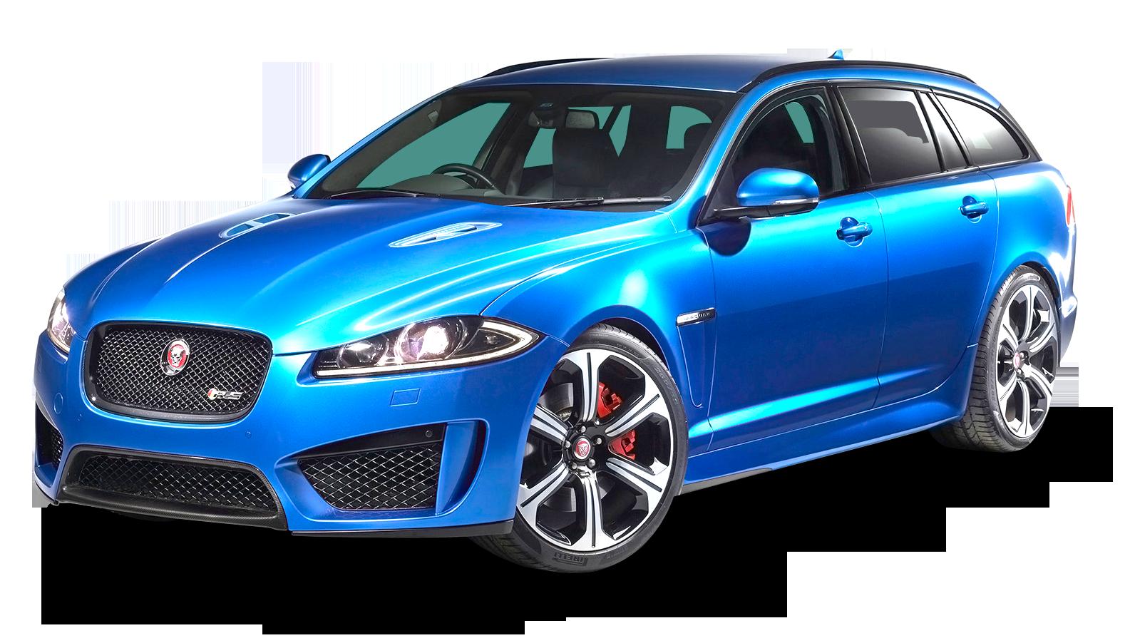 Jaguar XFR Sportbrake Blue Car PNG Image