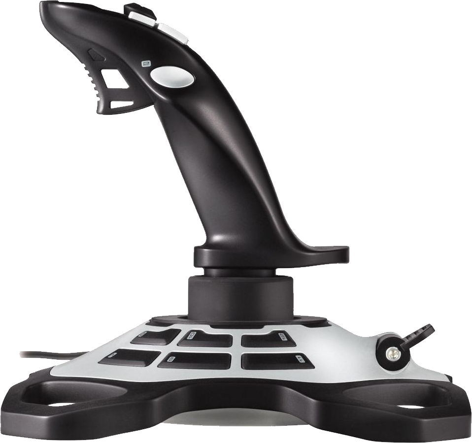 Black and Silver Joystick Sideview PNG Image