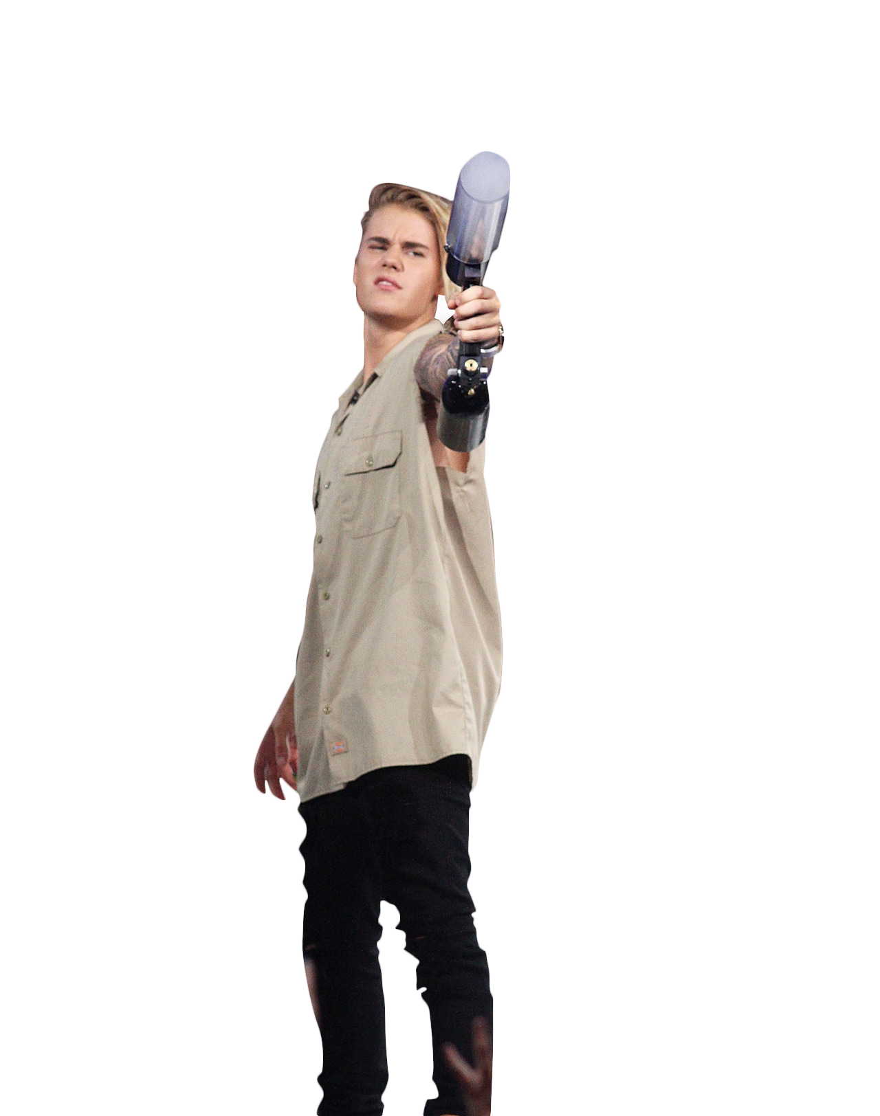 Justin Bieber Holding Gas Canone PNG Image