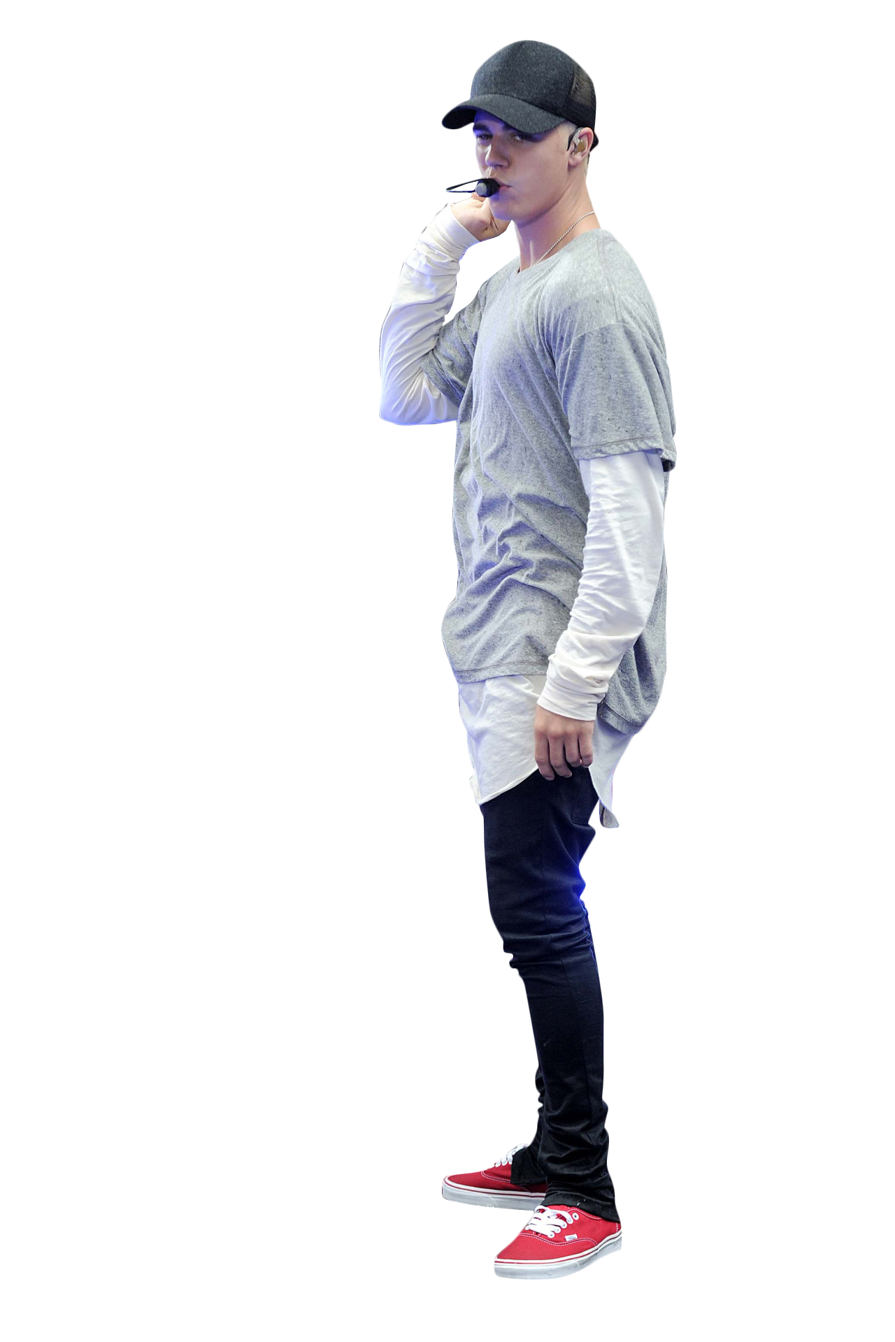Justin Bieber Performing on Stage PNG Image