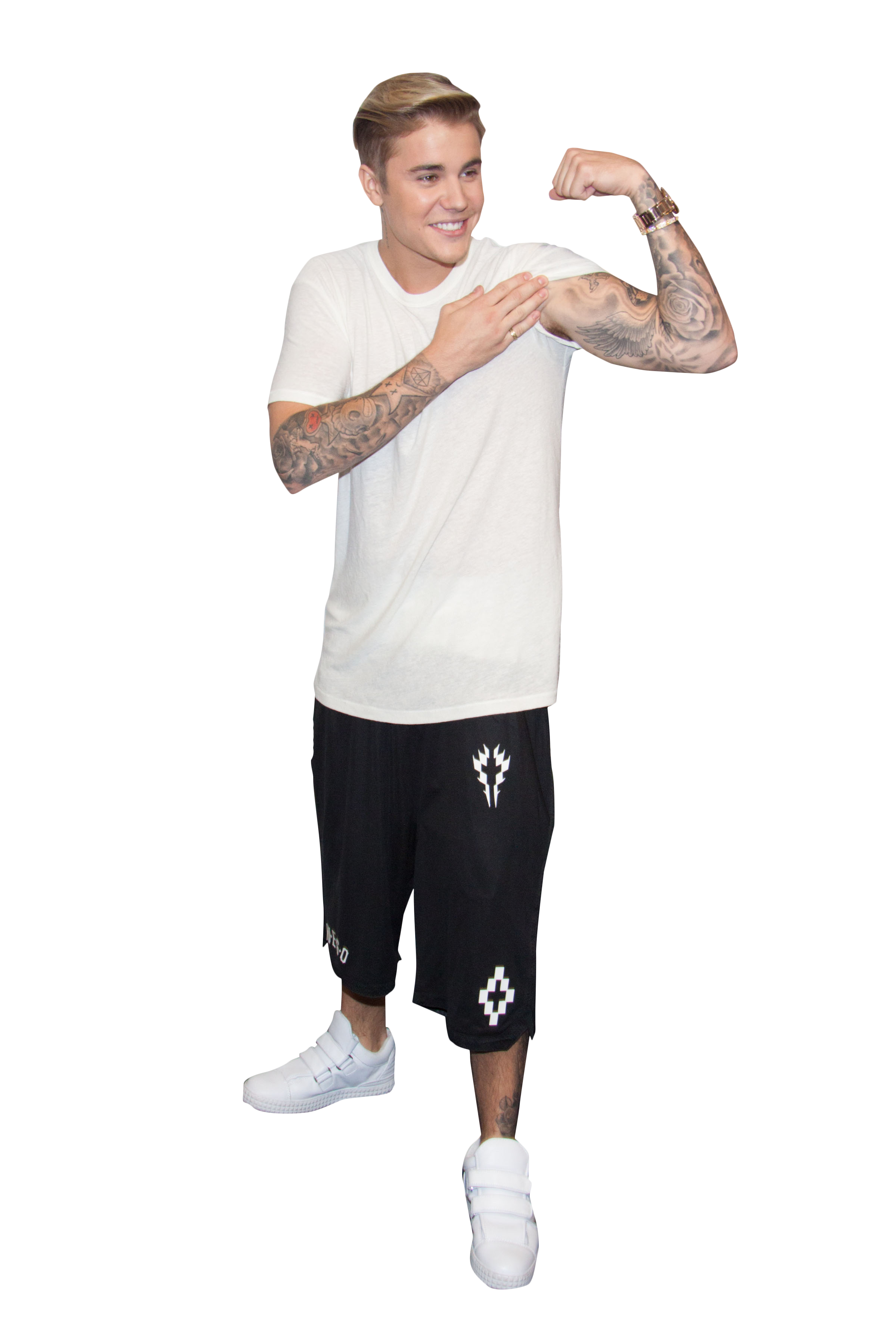 Justin Bieber Showing Muscle PNG Image