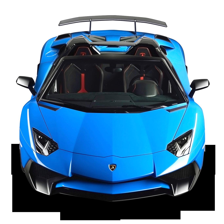 Lamborghini Aventador SV Roadster Blue Car PNG Image