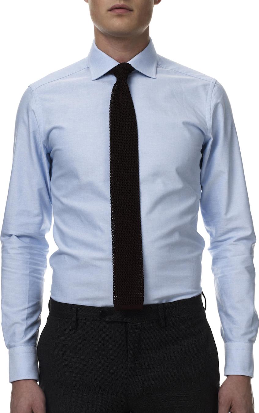 Llight Blue Dress Shirt Black Tie PNG Image