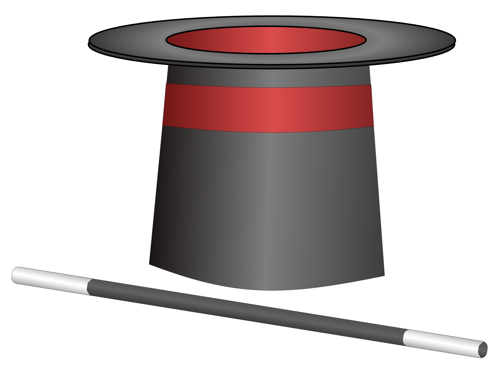Magician Hat with Wand PNG Image