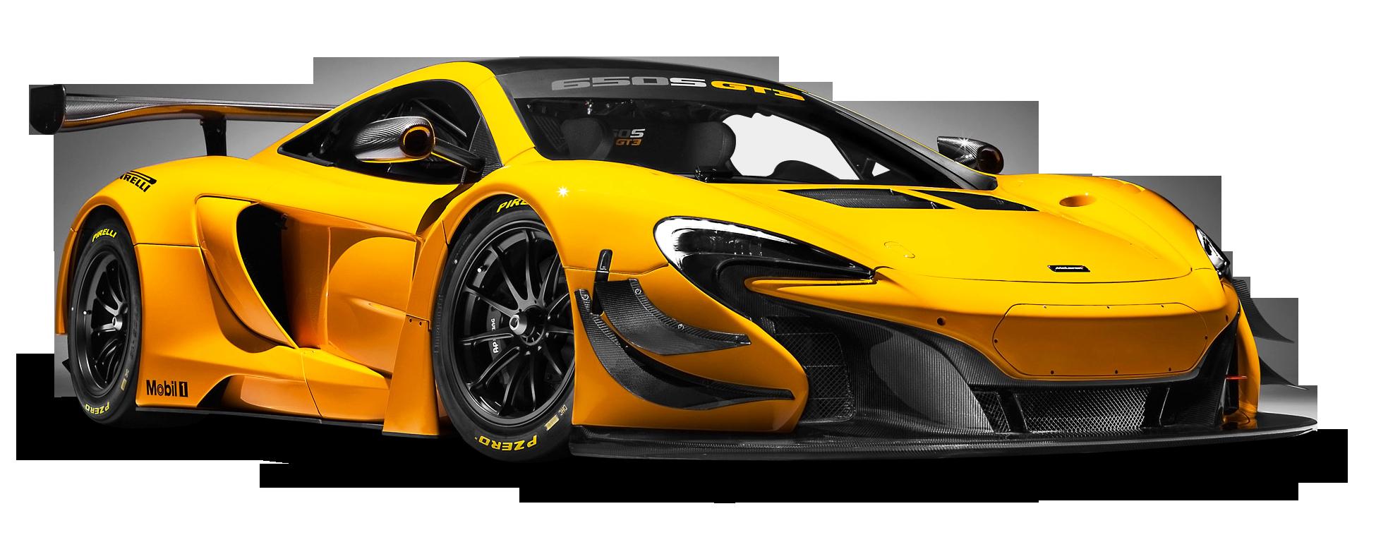 McLaren 650S GT3 Yellow Race Car PNG Image