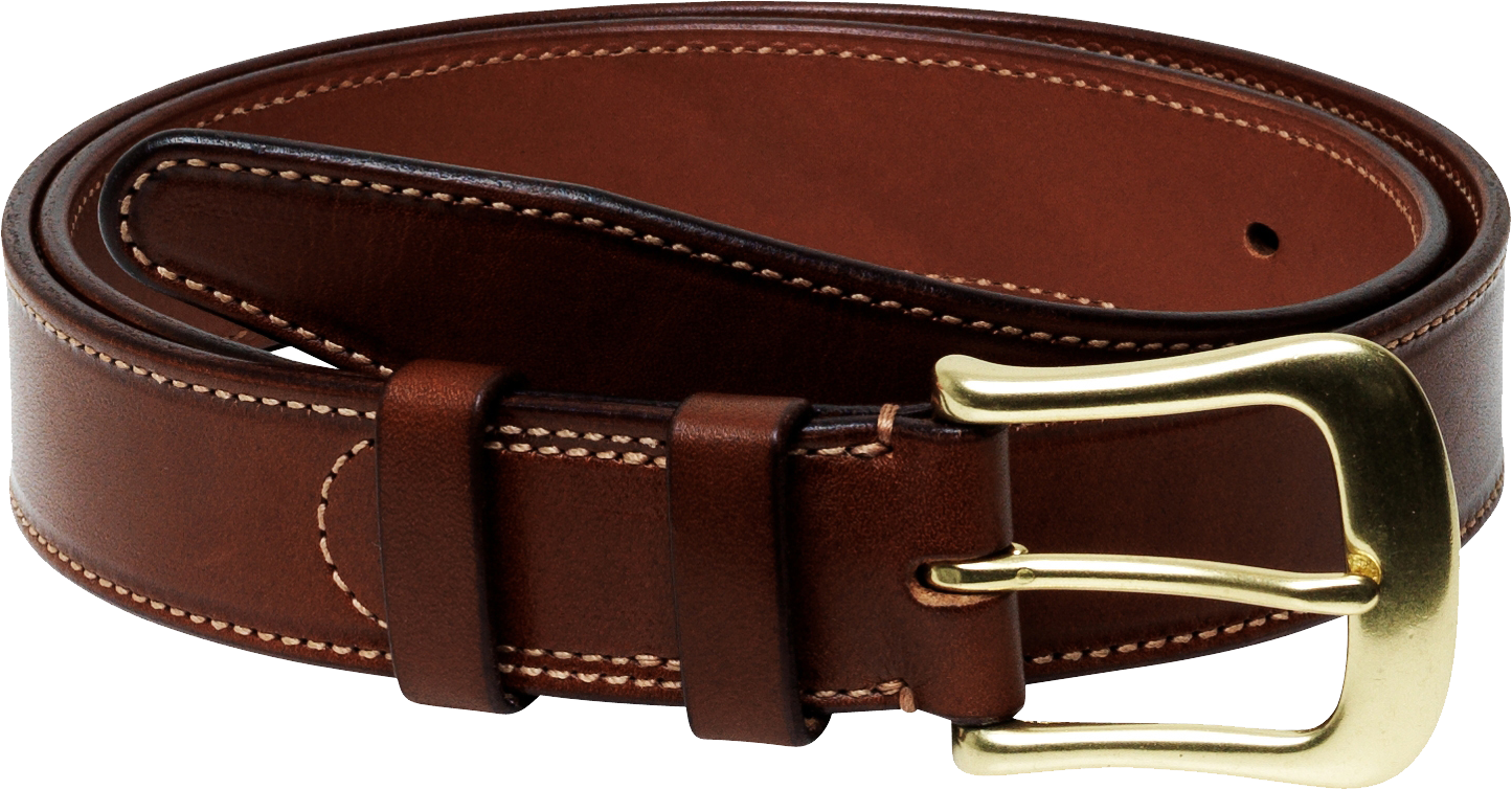 Men Formal  Genuine Leather Belt With Gold Buckles PNG Image