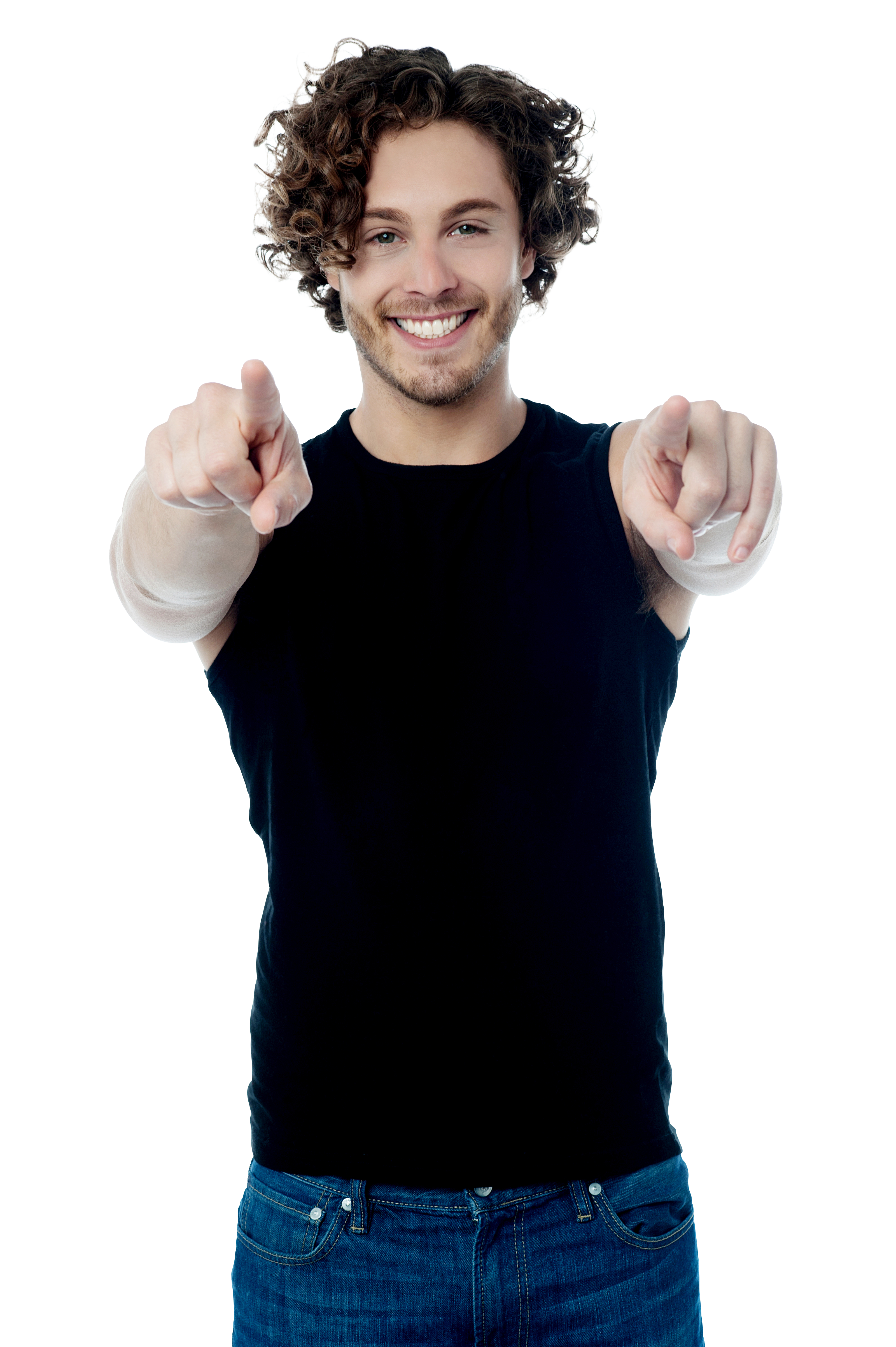 Men Pointing Front PNG Image