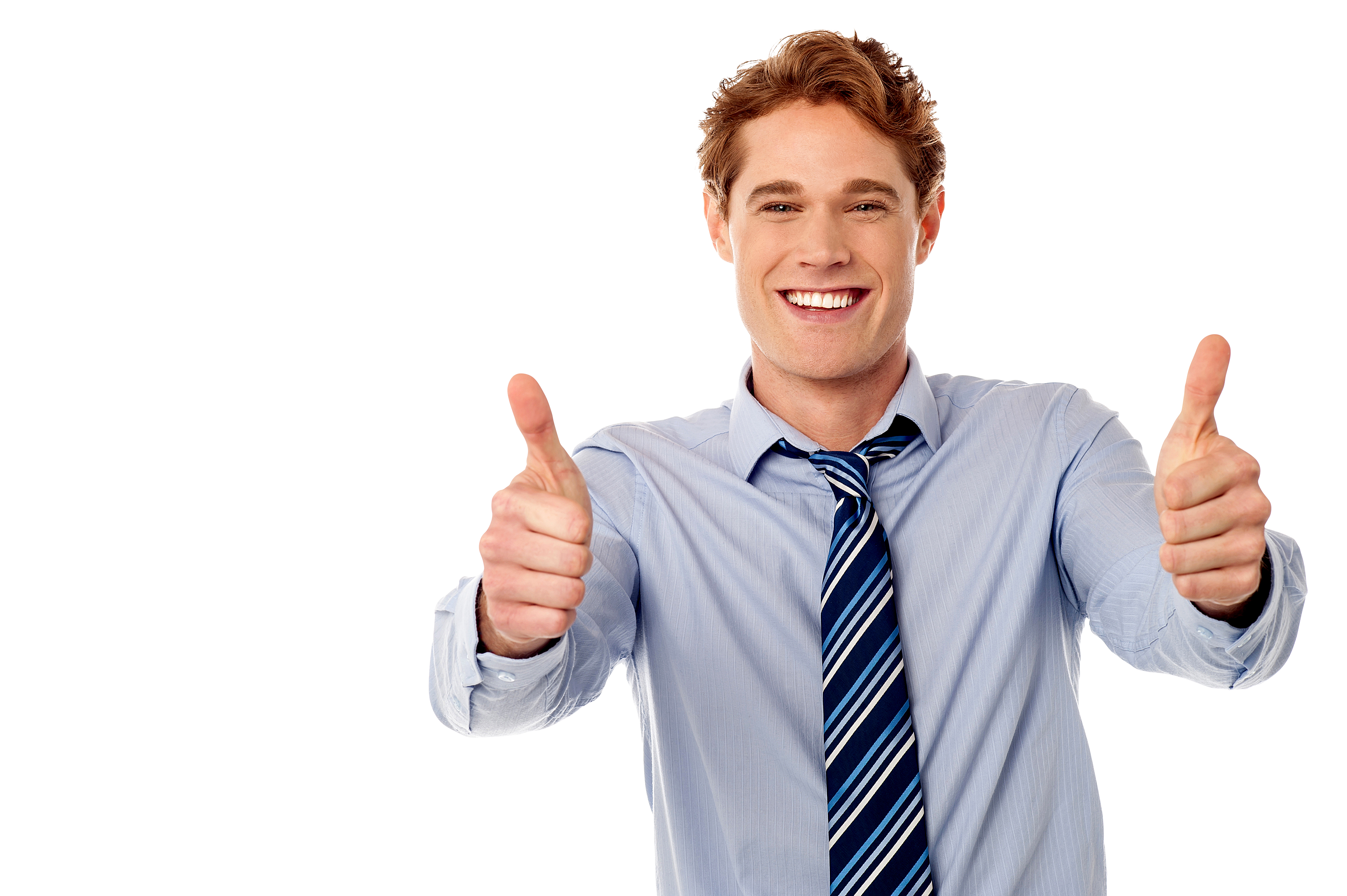 Men Pointing Thumbs Up