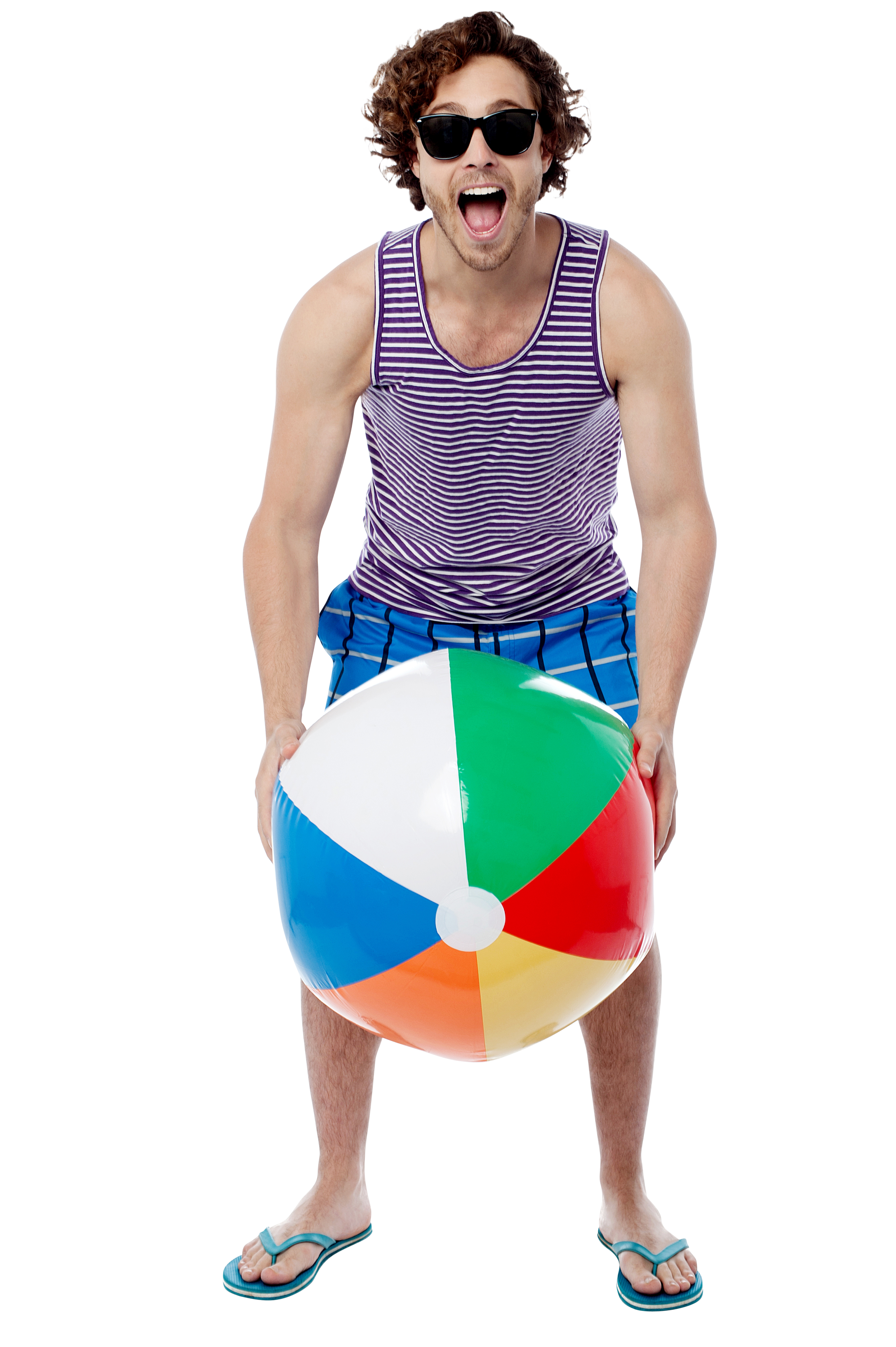 Men With Beach Ball PNG Image