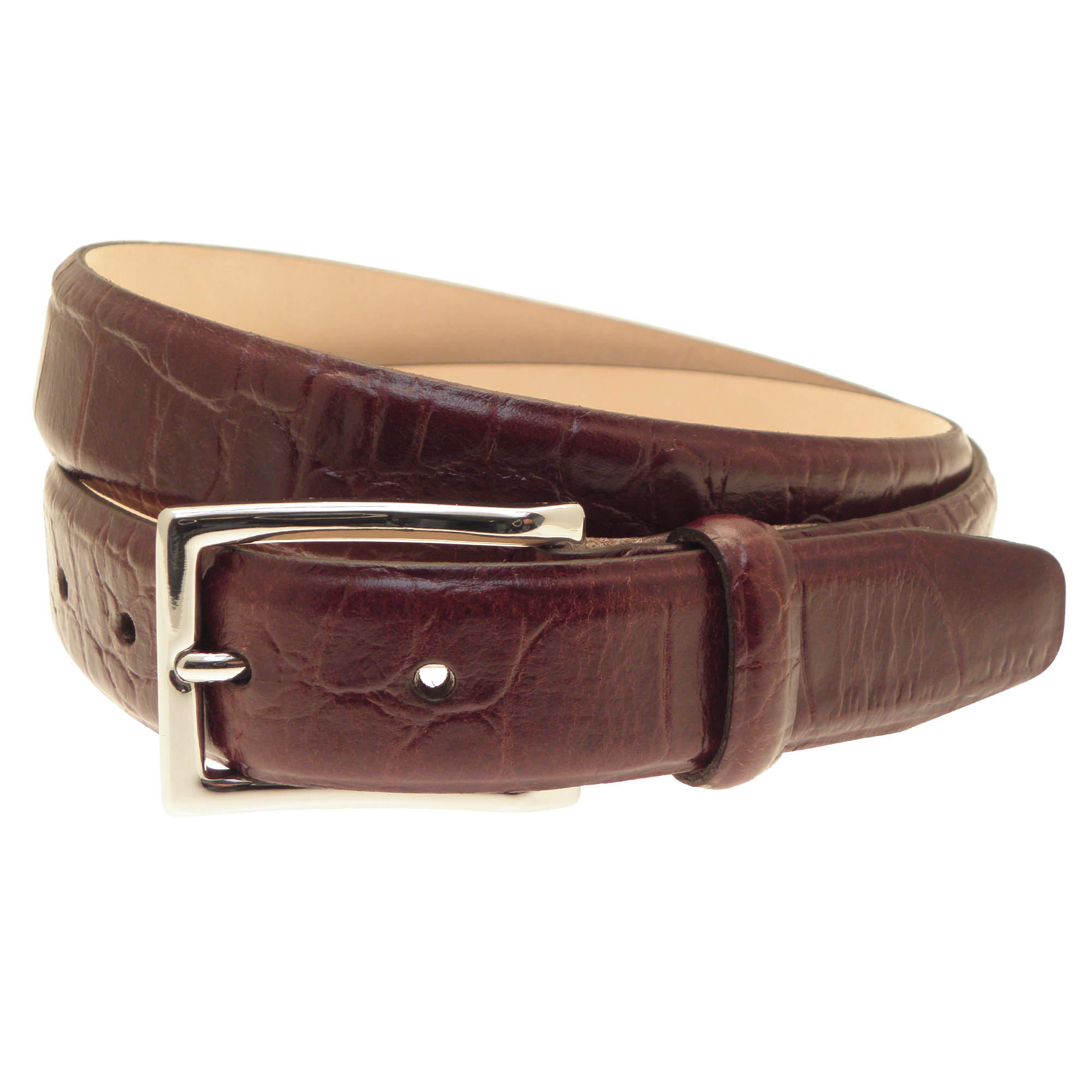 Men's Croc Embossed Leather Belt PNG Image