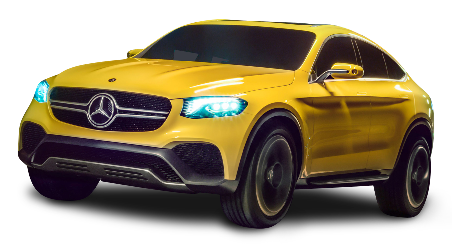 Mercedes Benz GLC Coupe Yellow Car PNG Image