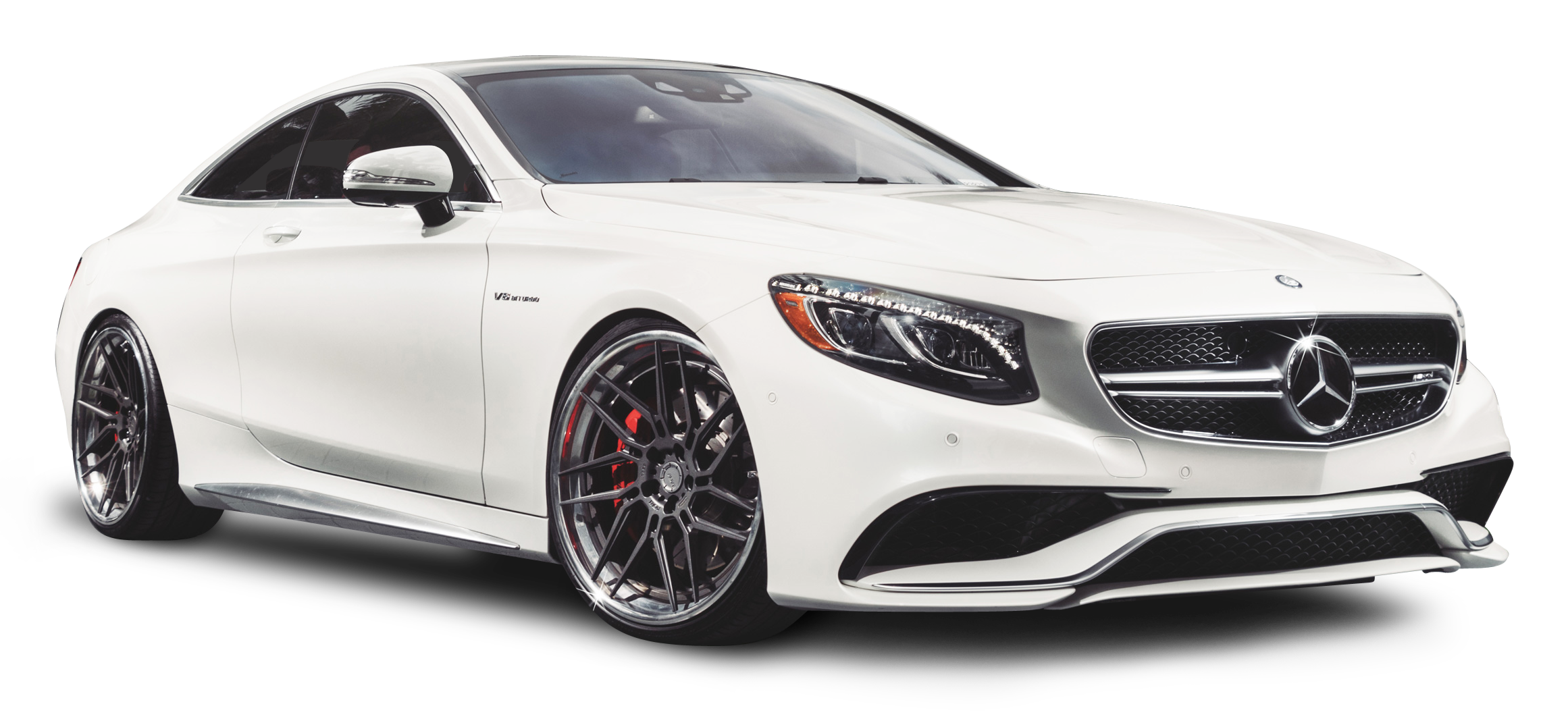 Mercedes Benz S63 AMG White Car PNG Image