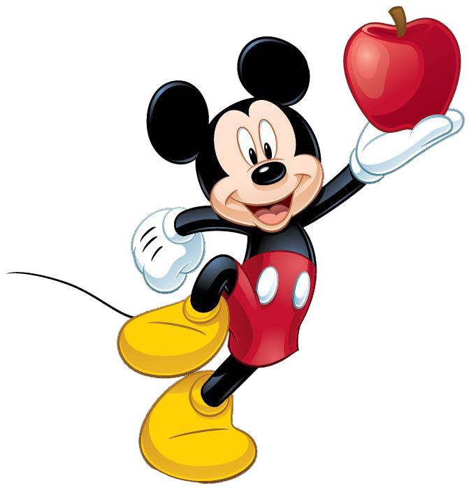 Mickey  Mouse Apple On Hand PNG Image