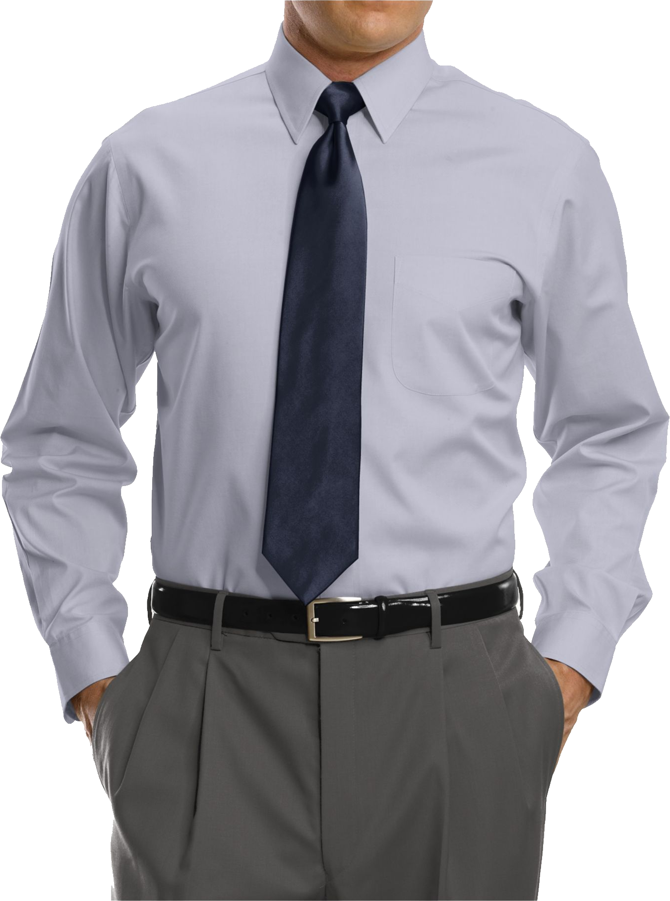 Of White Full Sleeve Shirt With BlackTie