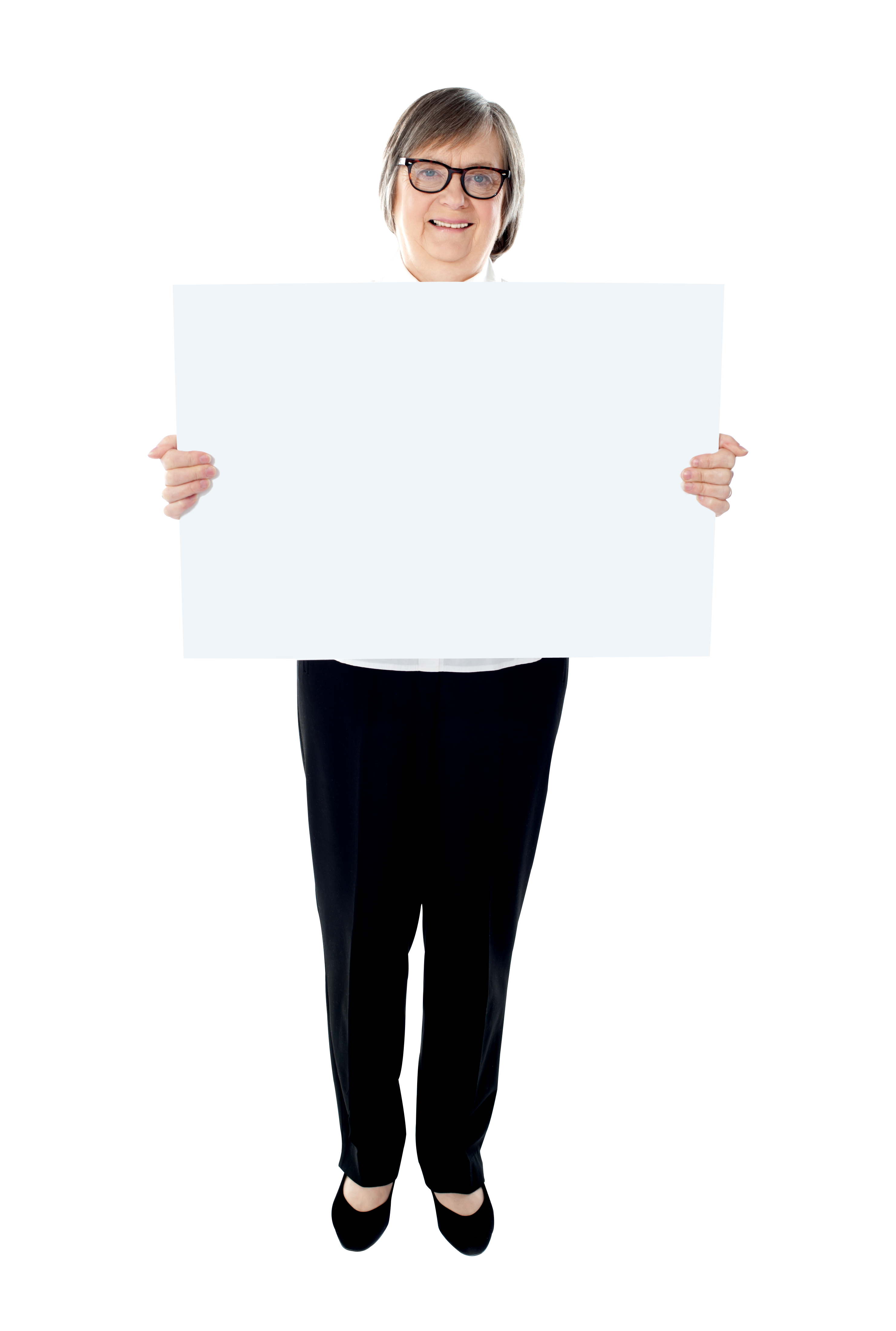 Old Women Holding Banner PNG Image