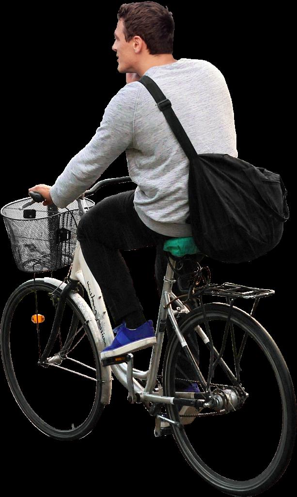 On His Bike PNG Image