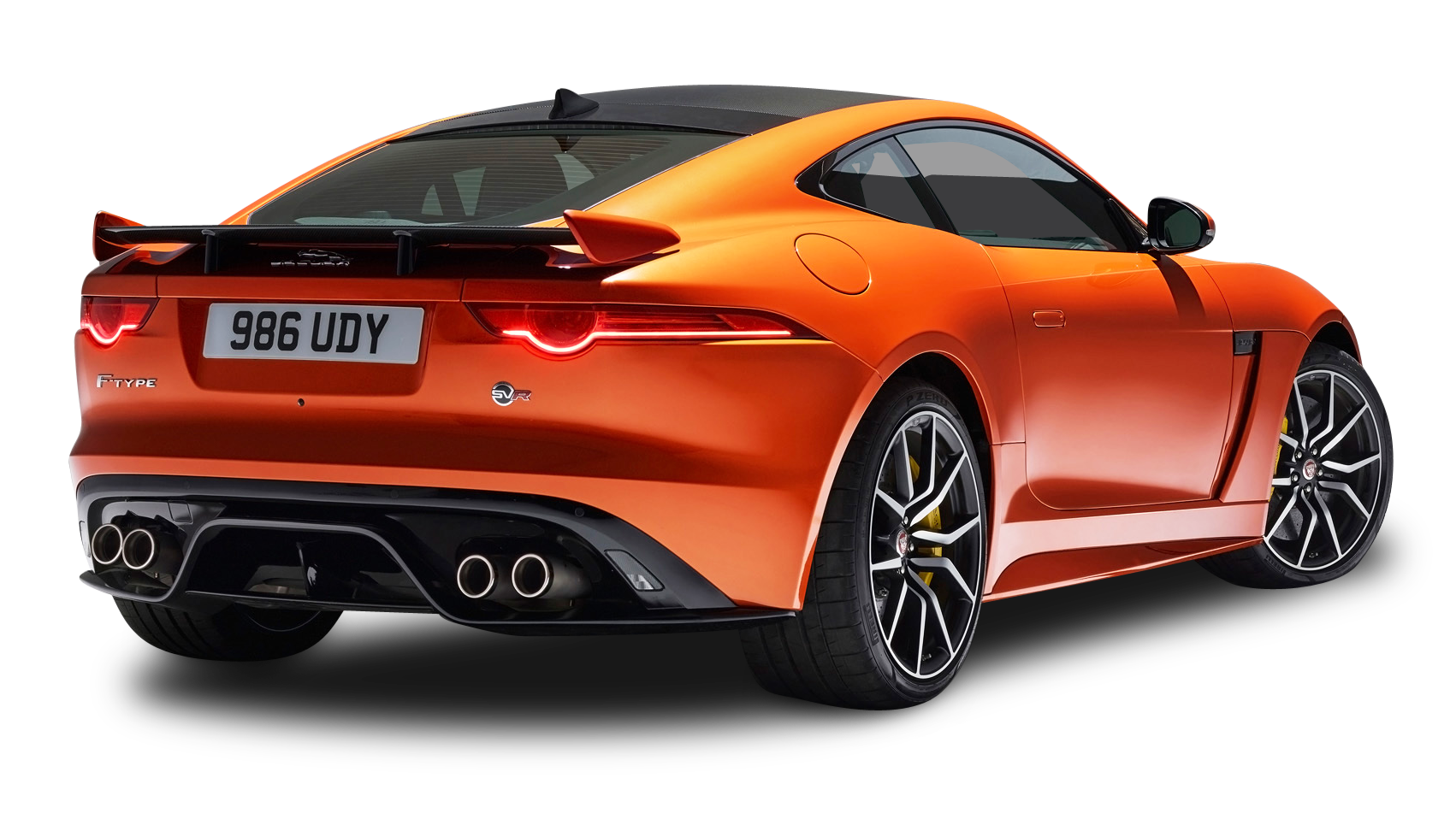 Orange Jaguar F Type SVR Coupe Back View Car