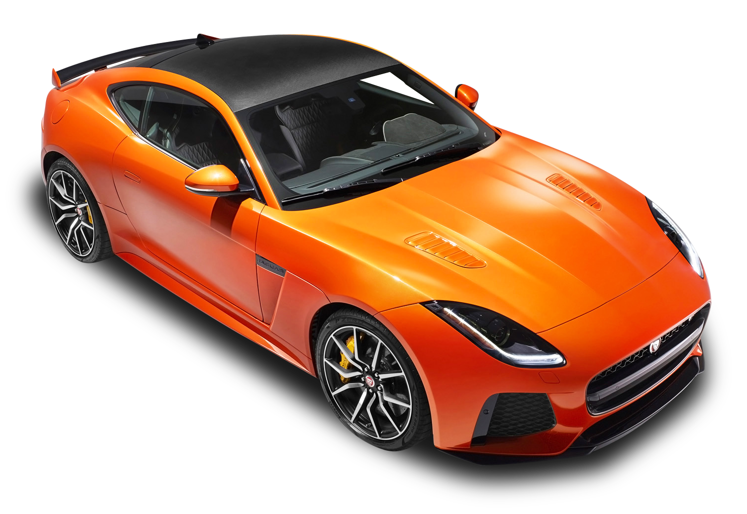 Orange Jaguar F Type SVR Coupe Top View Car