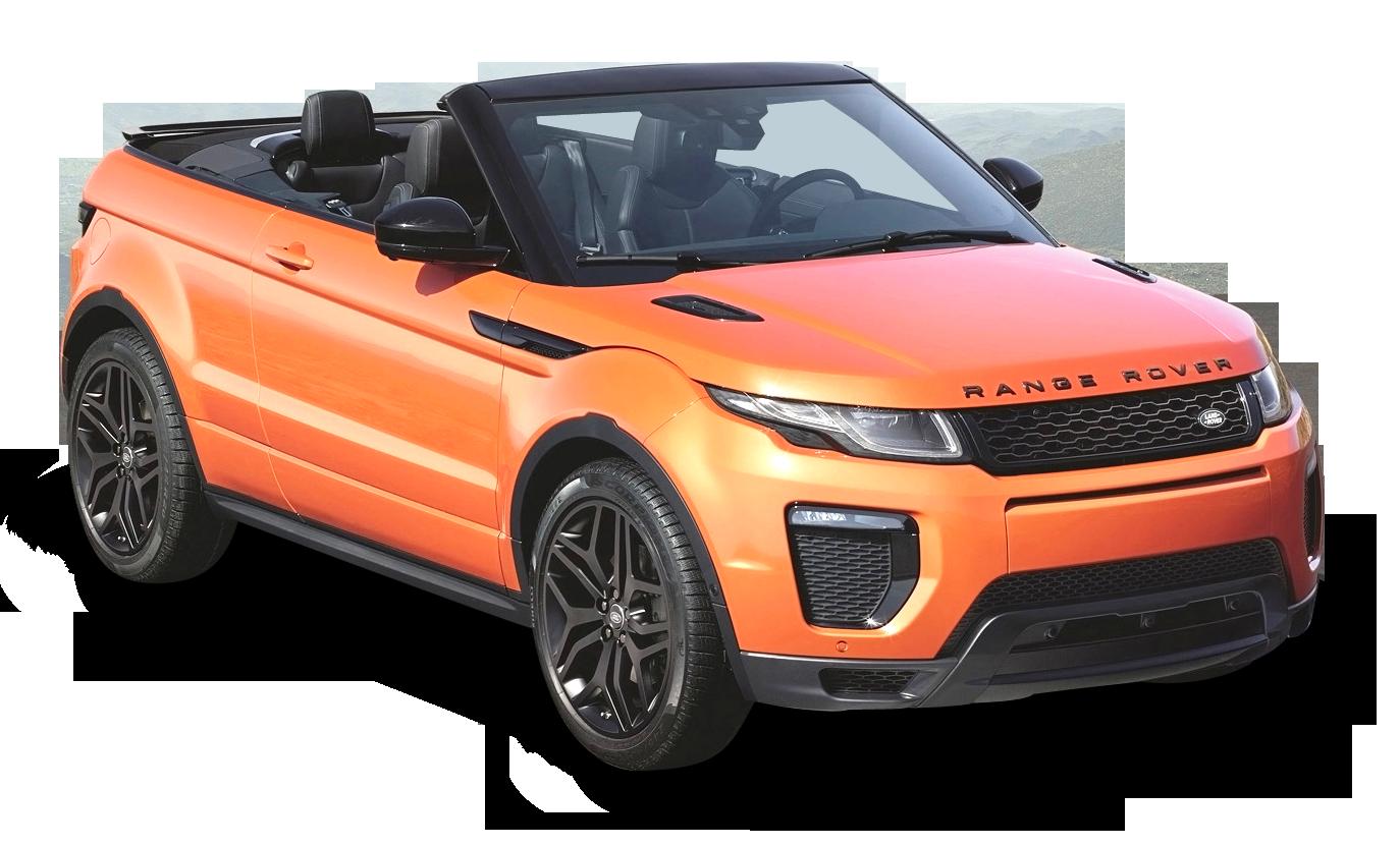 Orange Range Rover Evoque Convertible Car PNG Image