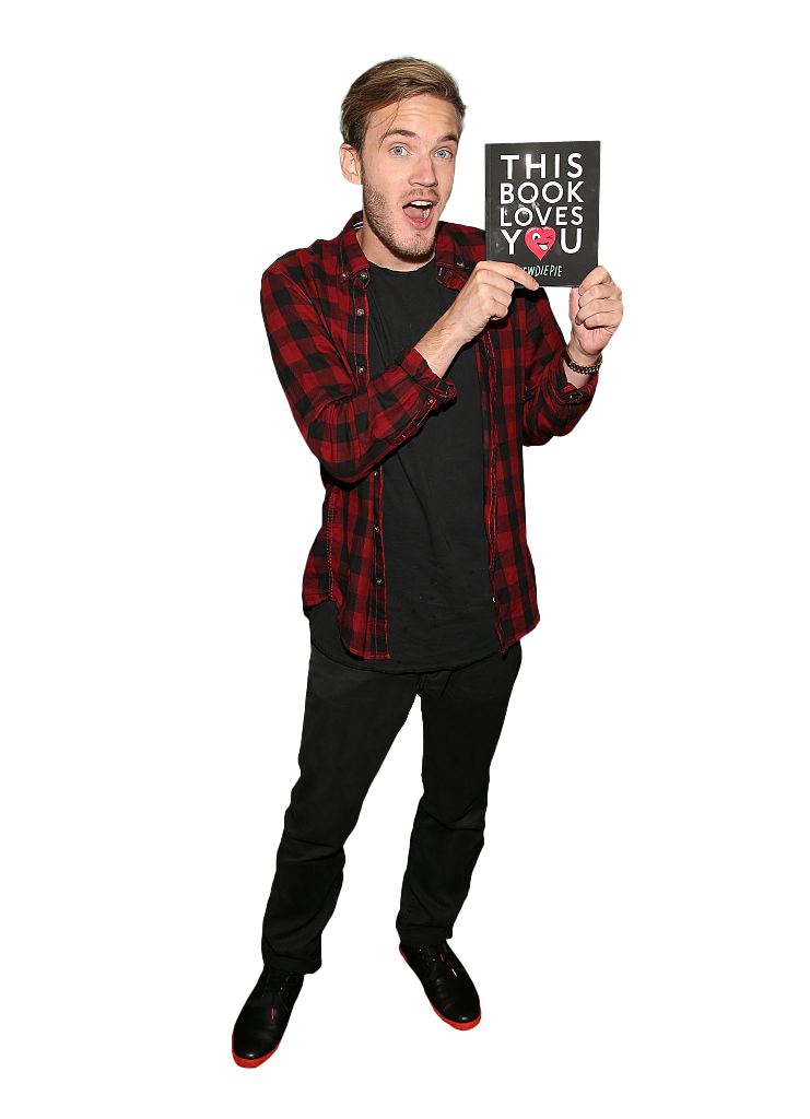 Pewdiepie holding book PNG Image