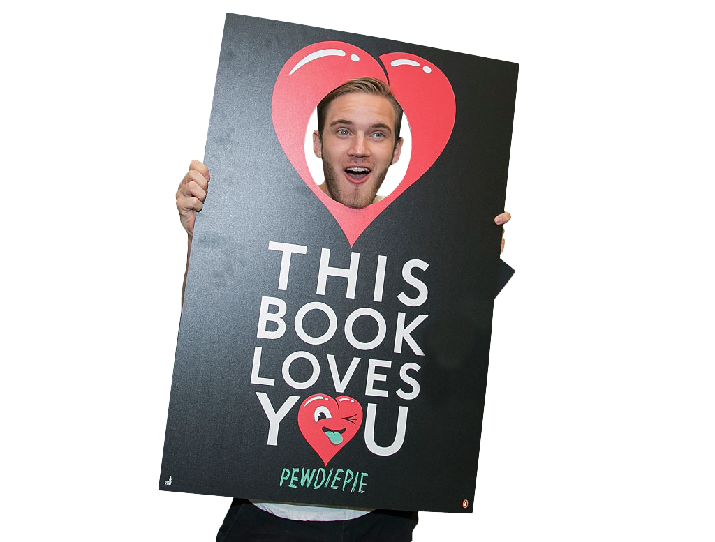Pewdiepie Holding Sign PNG Image