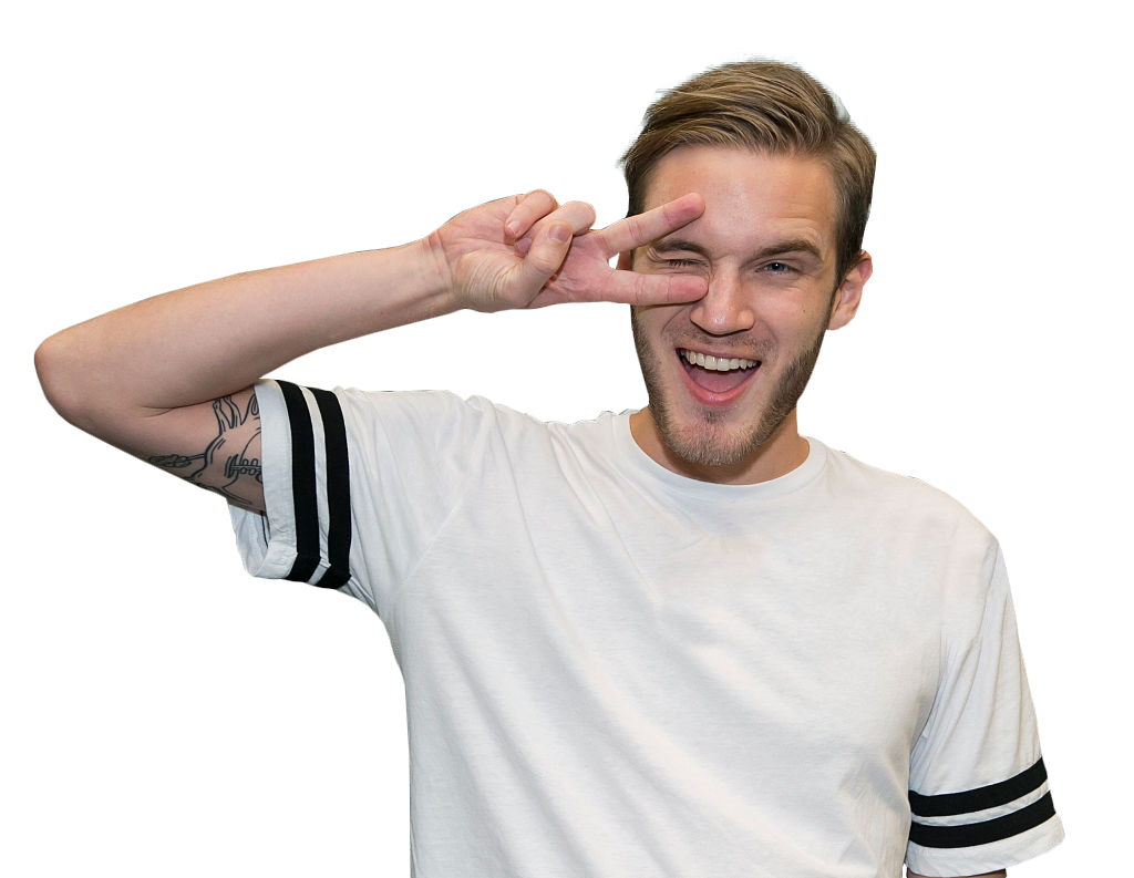 Pewdiepie in a white shirt PNG Image