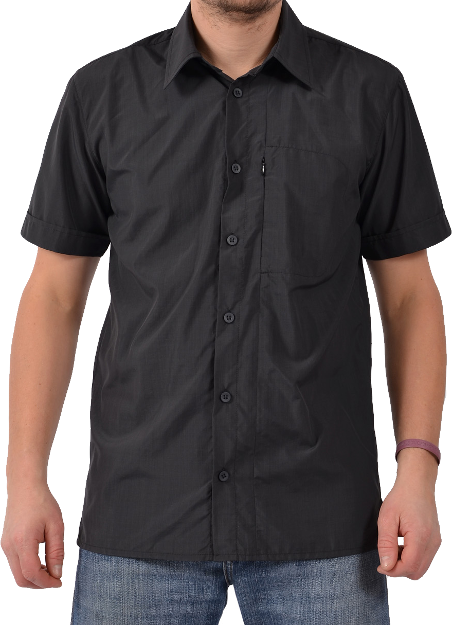 Plain Black Short Half Shirt PNG Image