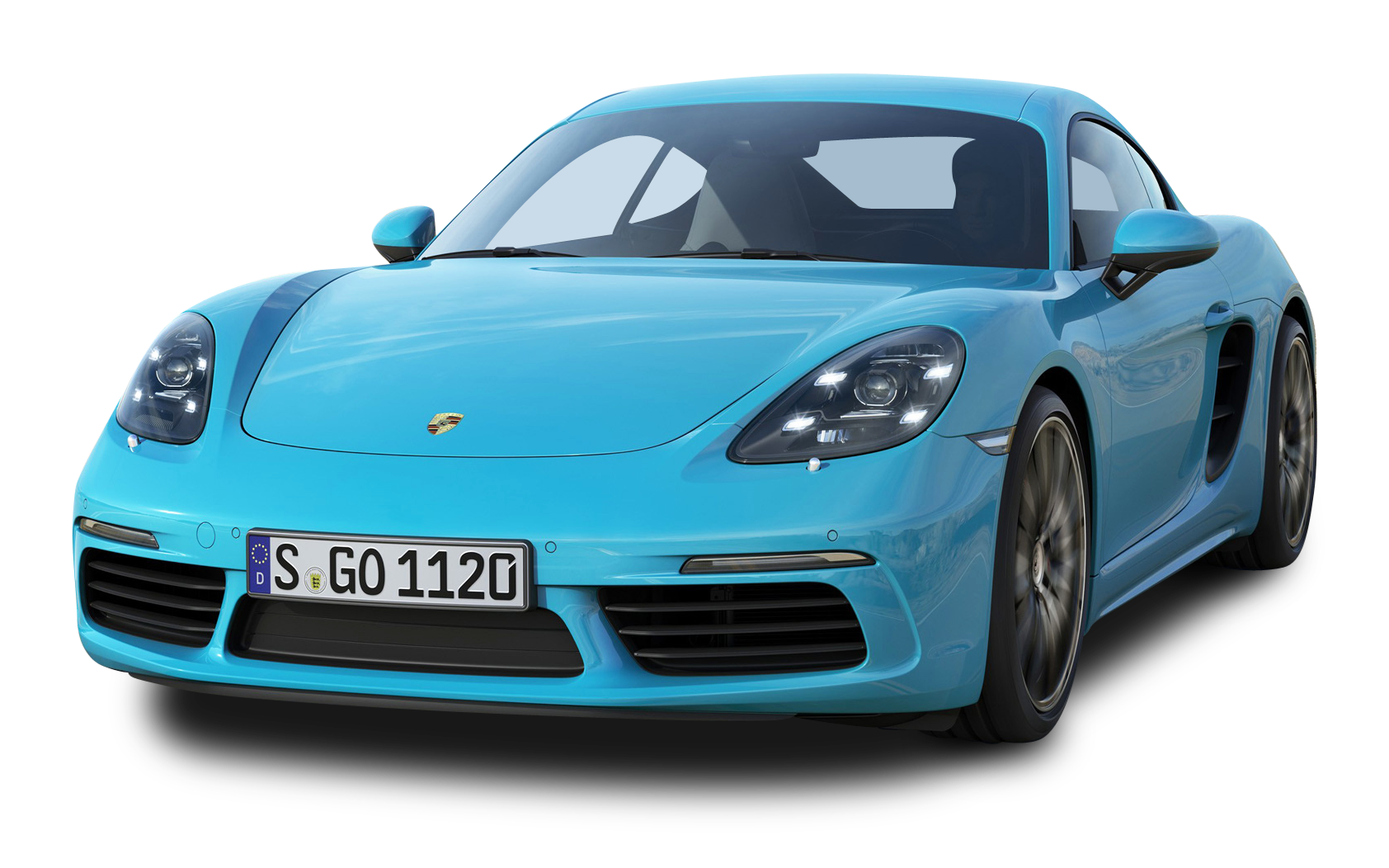 Porsche 718 Cayman S Blue Car PNG Image