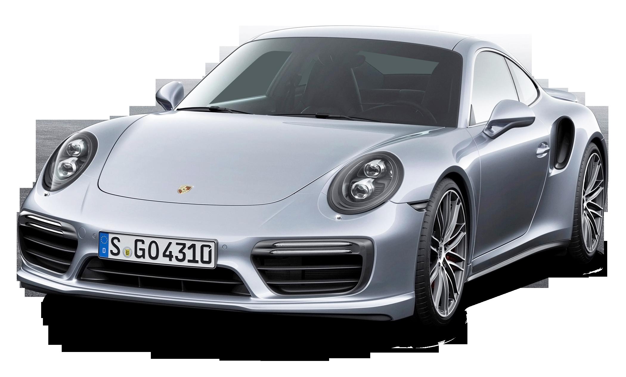 Porsche 911 Turbo Silver Car PNG Image