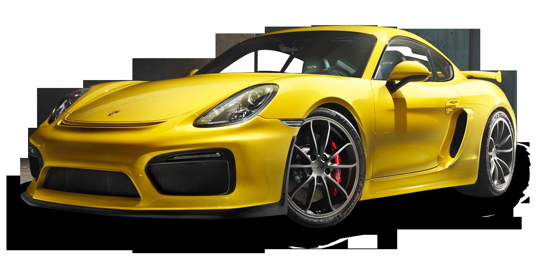 Porsche Cayman GT4 Yellow Car PNG Image