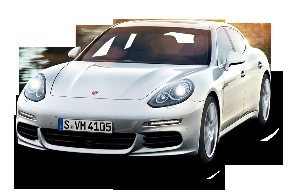 Porsche Panamera White Car PNG Image