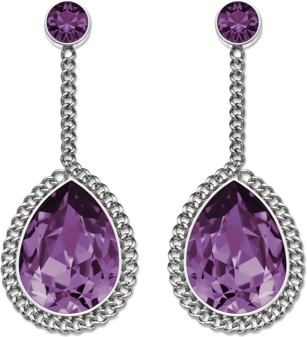 Purple  Diamond Earrings