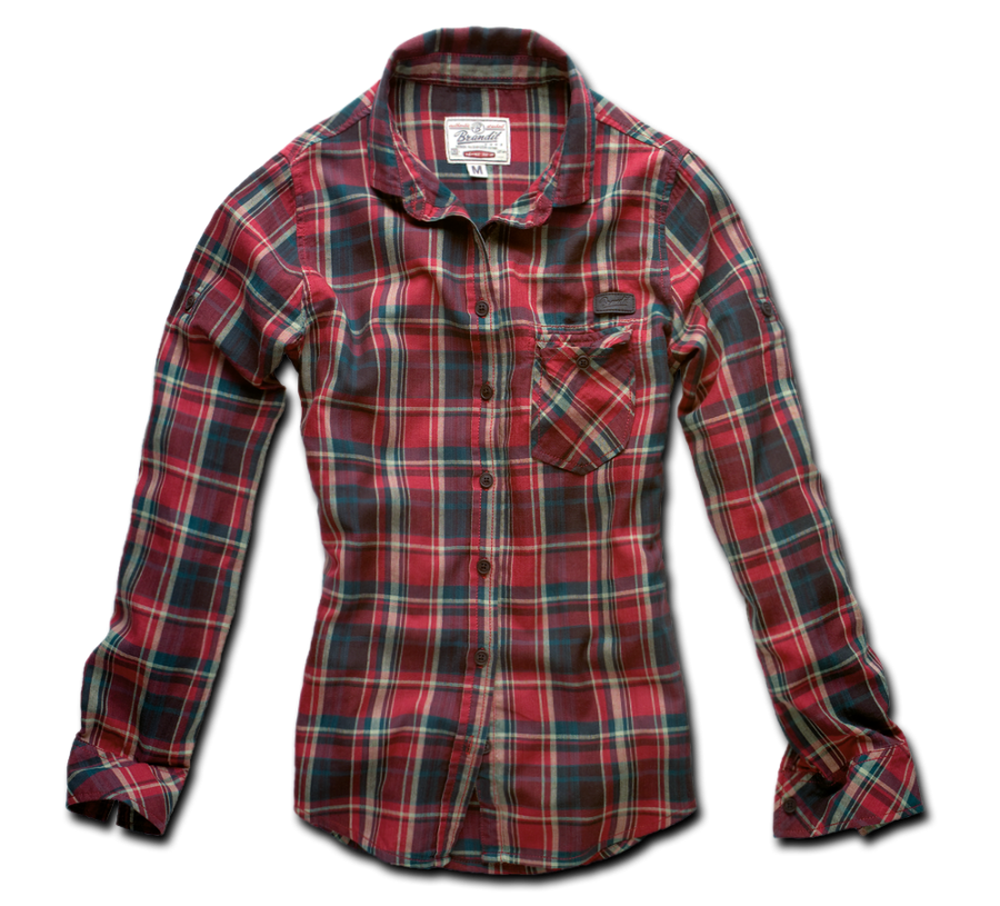 Red Casual Check Full Shirt PNG Image