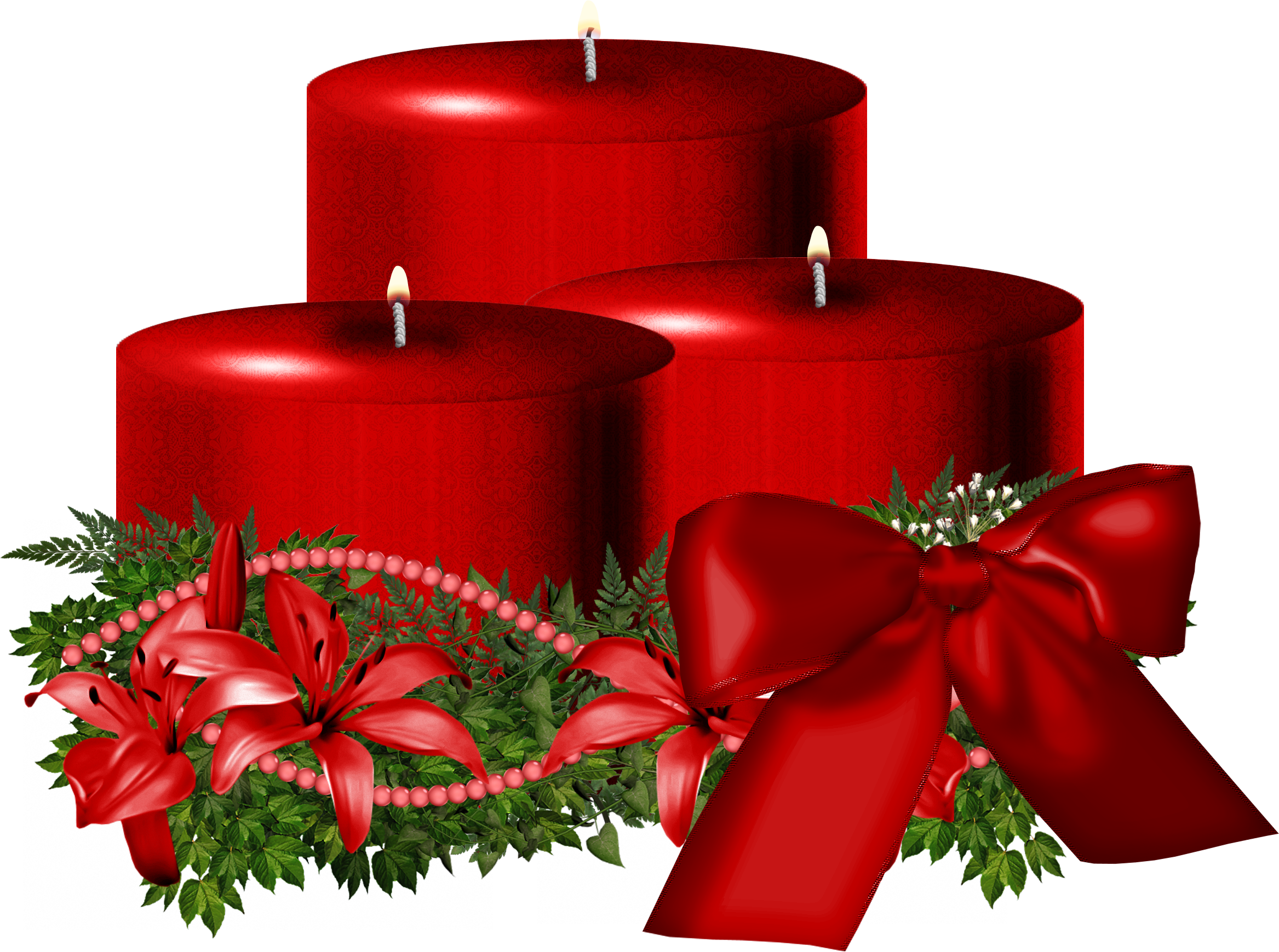 Tree Red Christmas Candle Decorated PNG Image