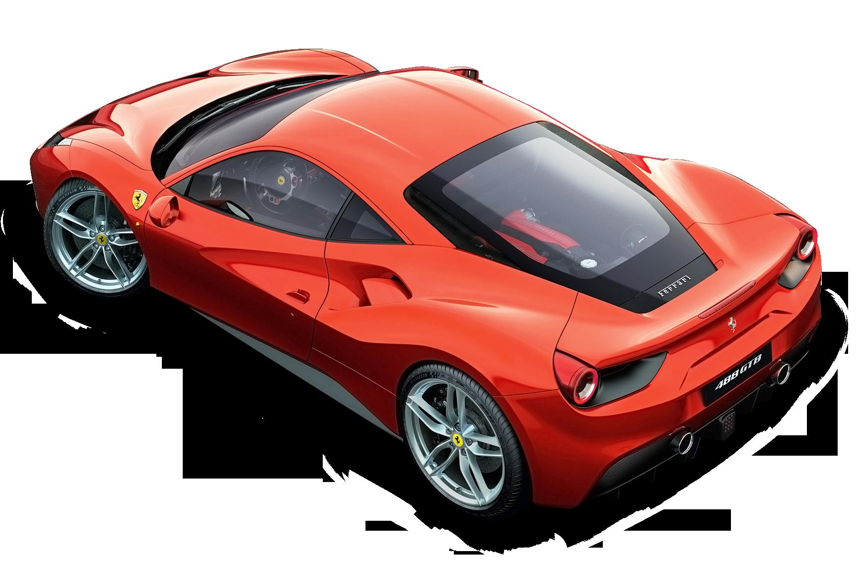 Red Ferrari Top View Car