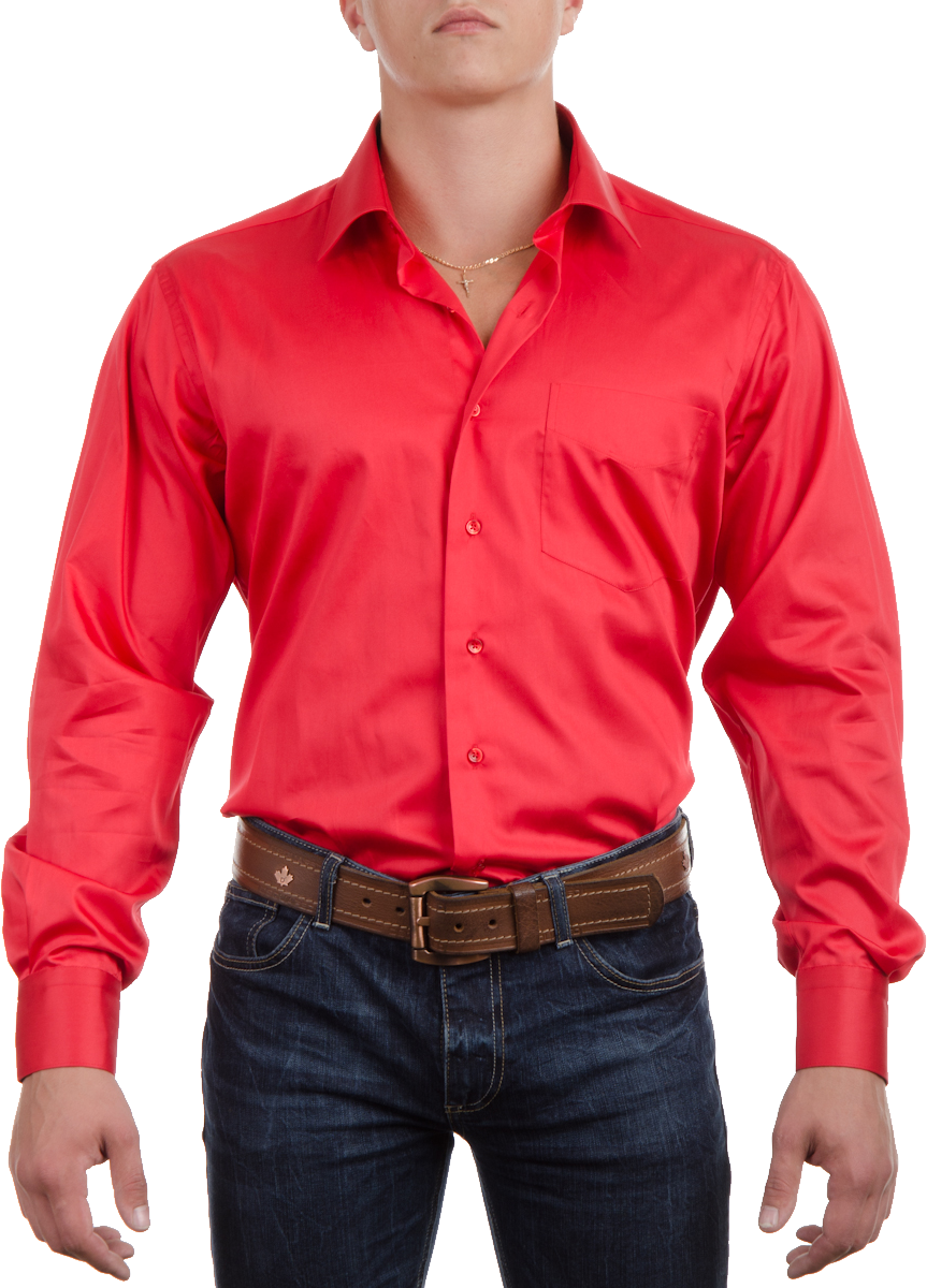 Red Plain Full Shirt PNG Image
