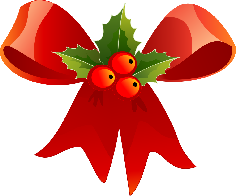 Red Ribbon Christmas with Mistletoe PNG Image