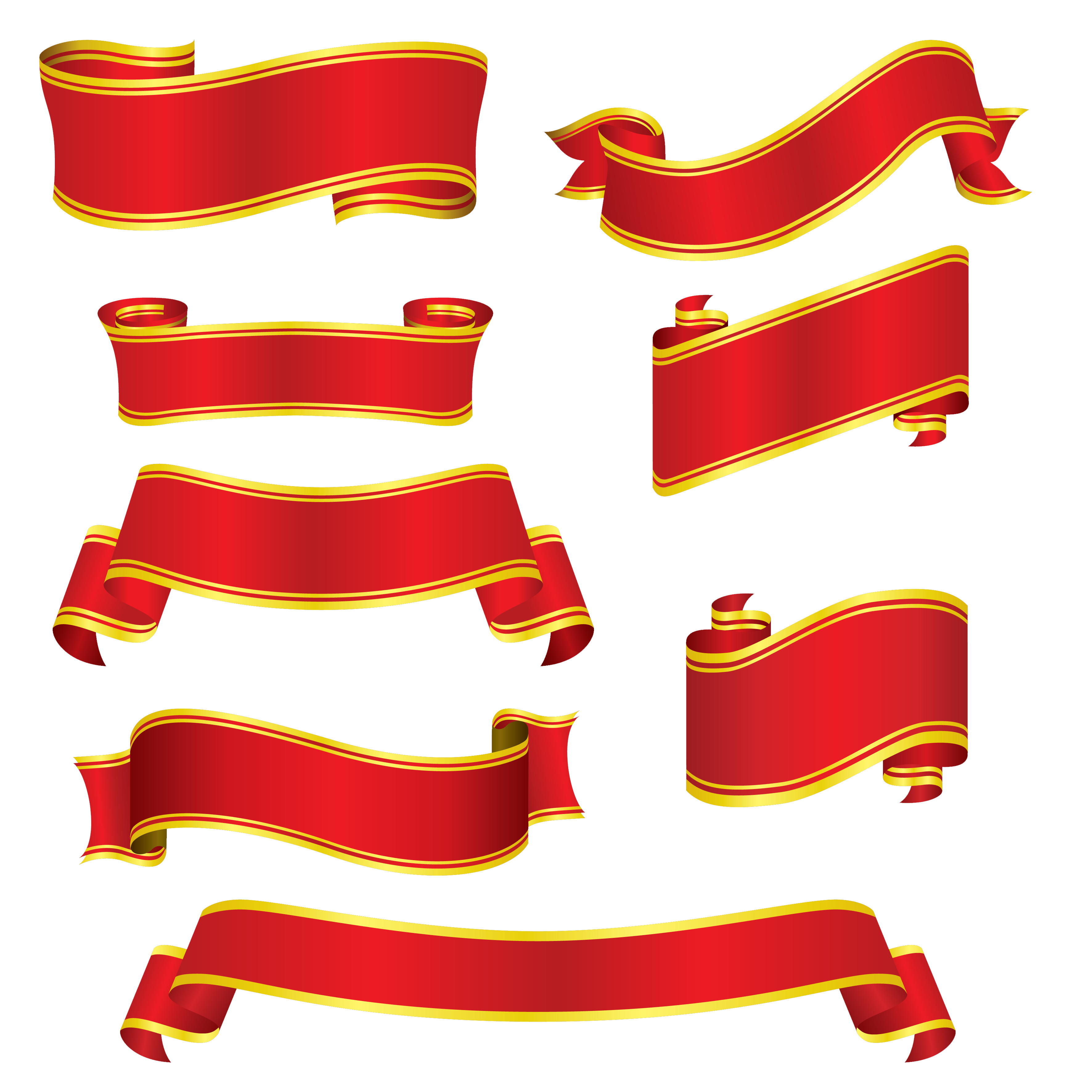 Collection Red Ribbons PNG Image